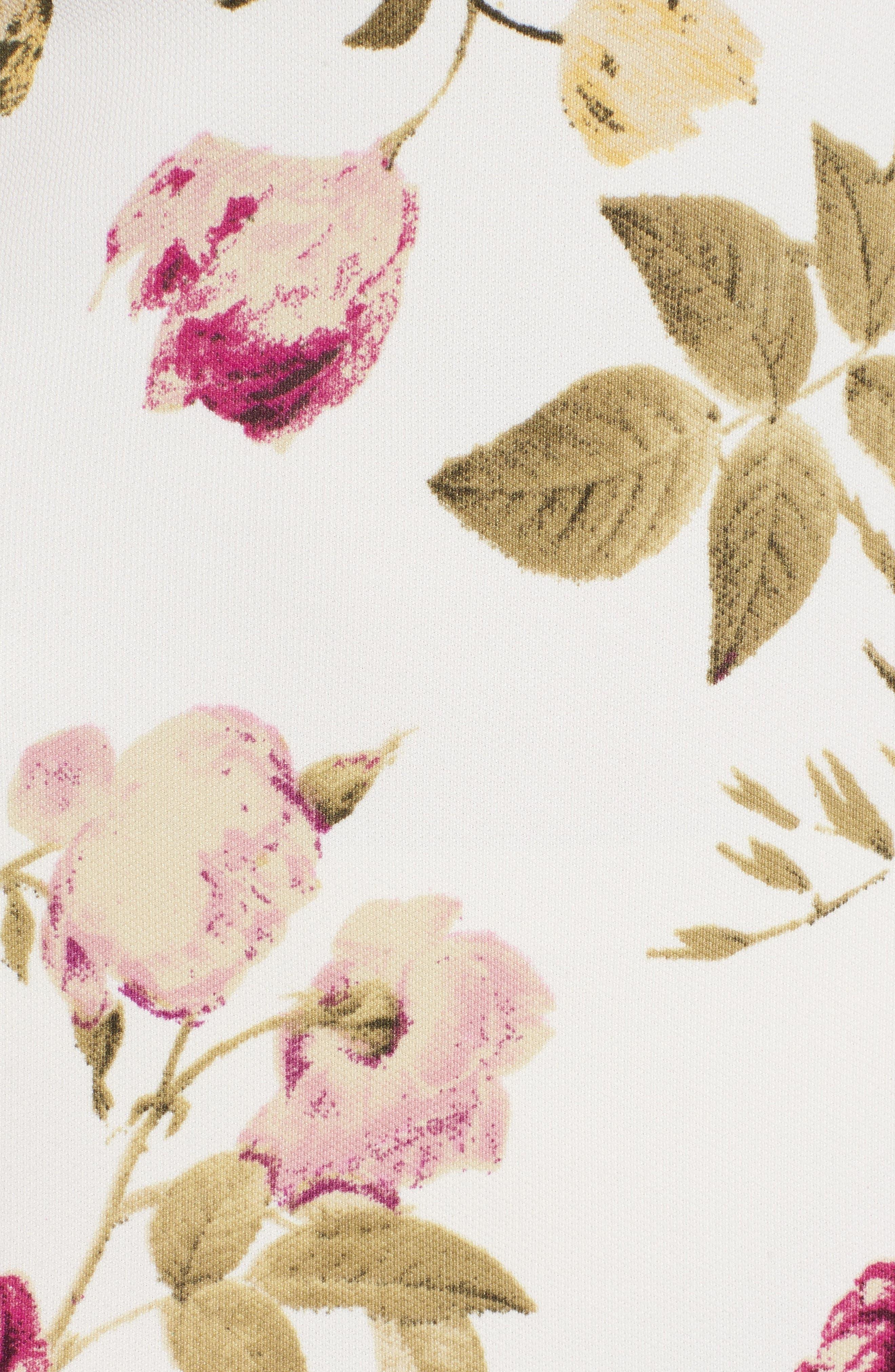 Strapless Flounce Dress,                             Alternate thumbnail 6, color,                             Ivory/ Fuchsia