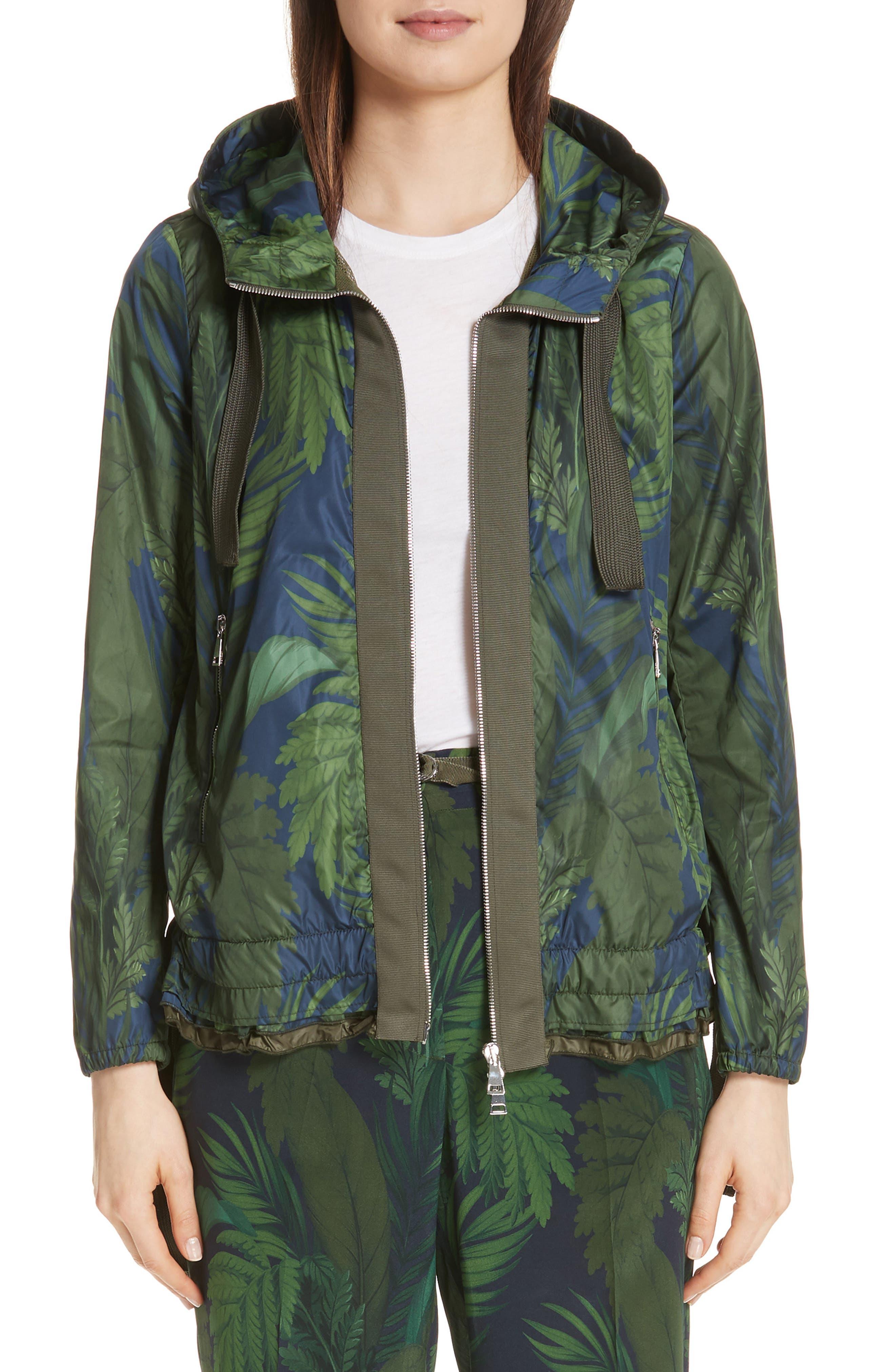 Moncler Morion Print Hooded Raincoat