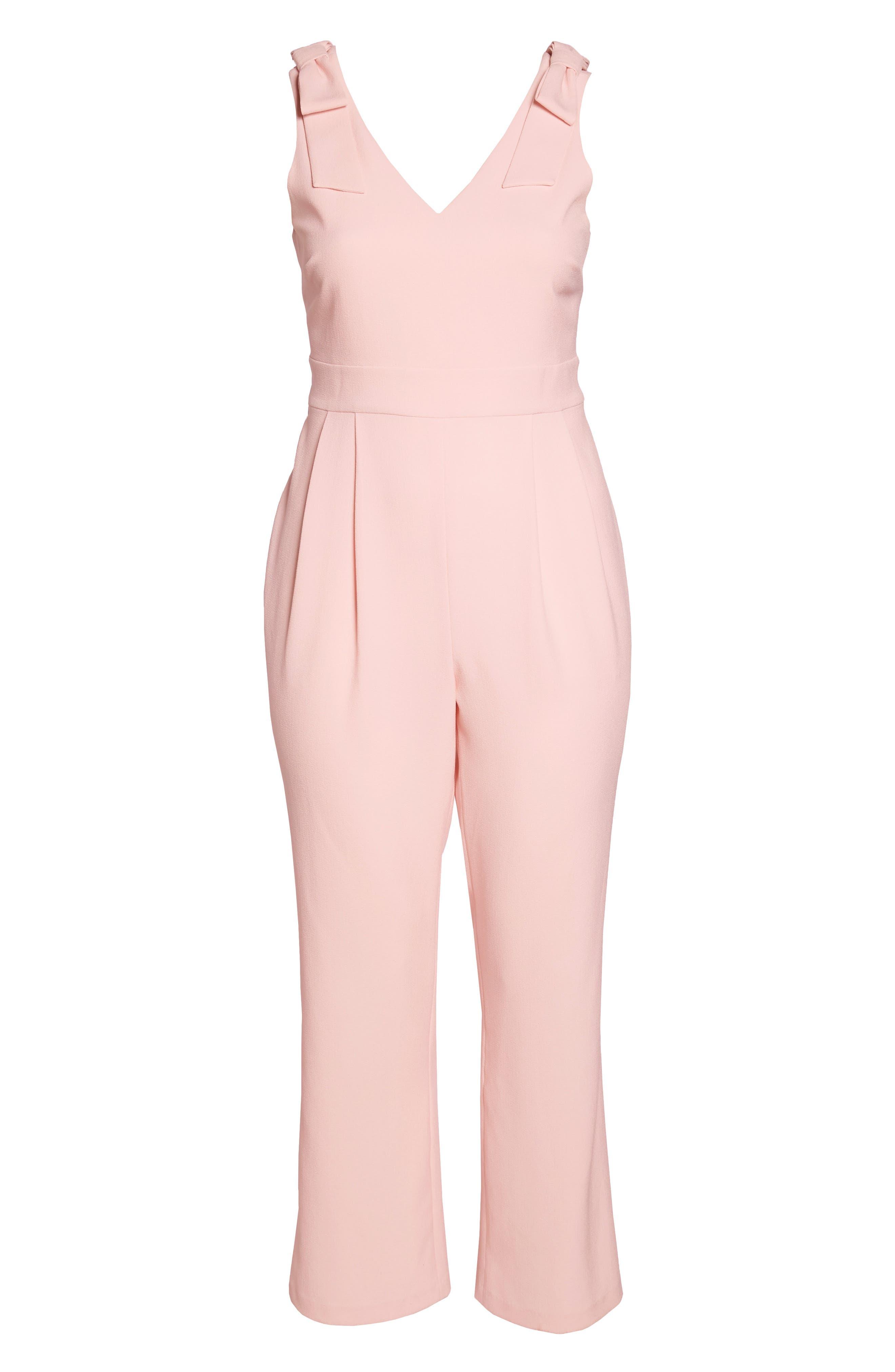 Bow Shoulder Jumpsuit,                             Alternate thumbnail 7, color,                             Pink Potpourri