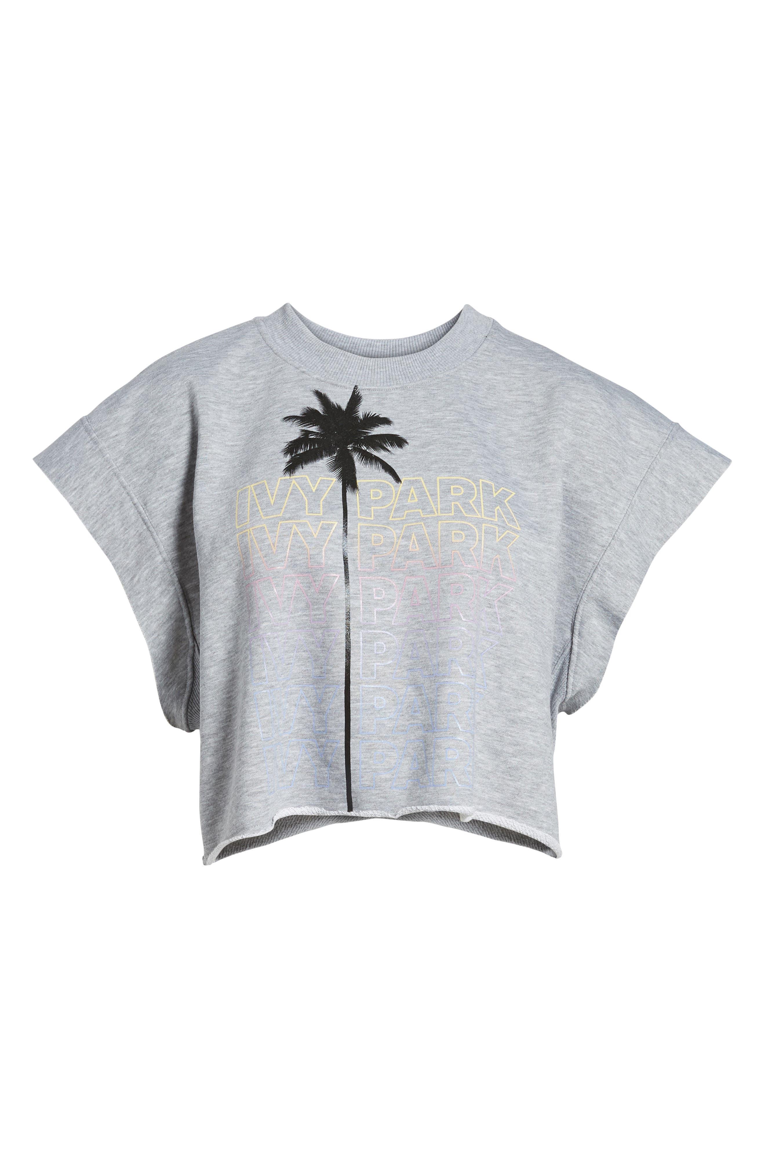 Festival Palm Print Crop Tee,                             Alternate thumbnail 7, color,                             Light Grey Marl