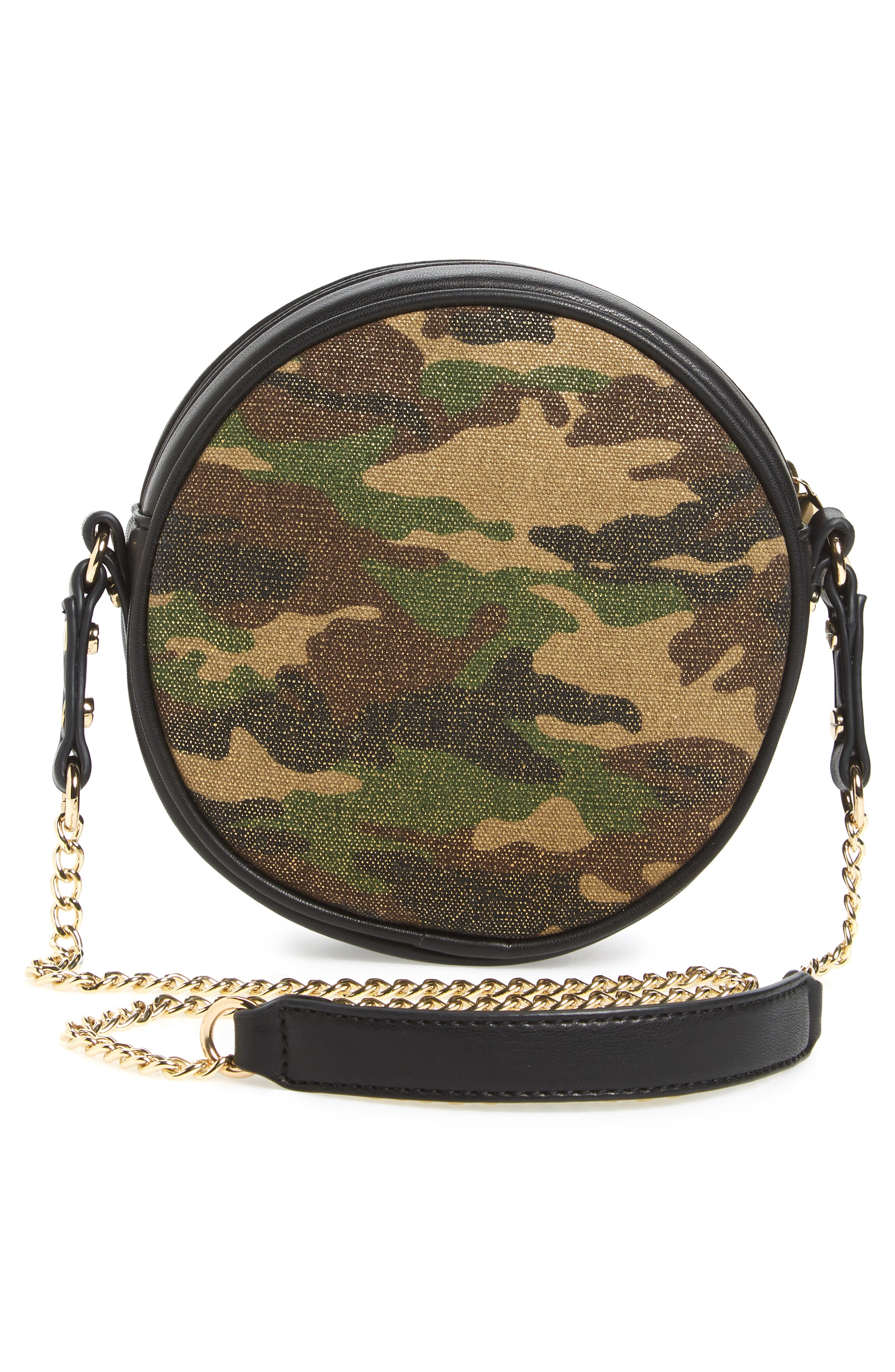 Mali + Lili Camouflage Vegan Leather Canteen Crossbody Bag,                             Alternate thumbnail 3, color,                             Camouflage