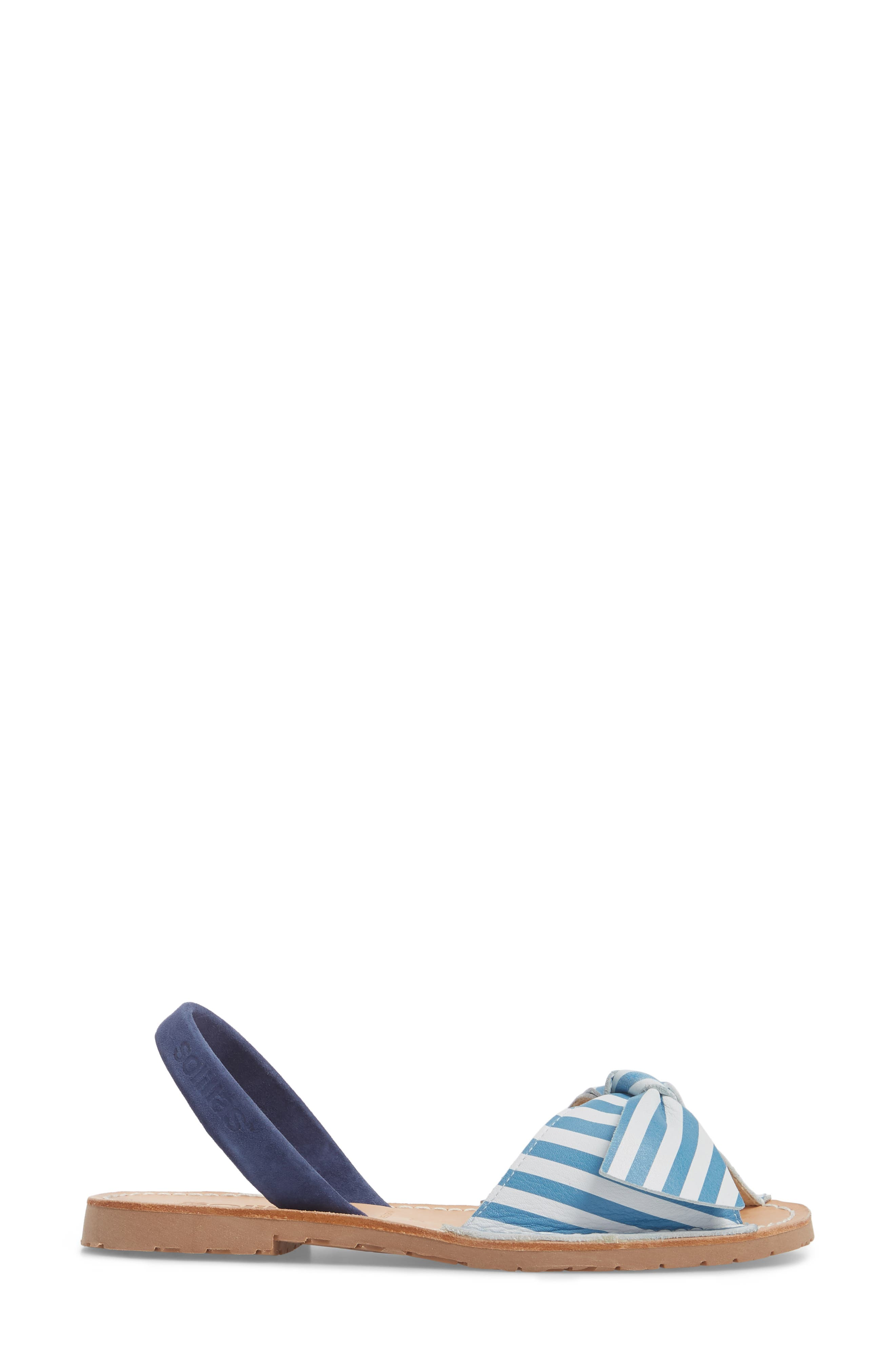 Bow Sandal,                             Alternate thumbnail 3, color,                             Blue And White