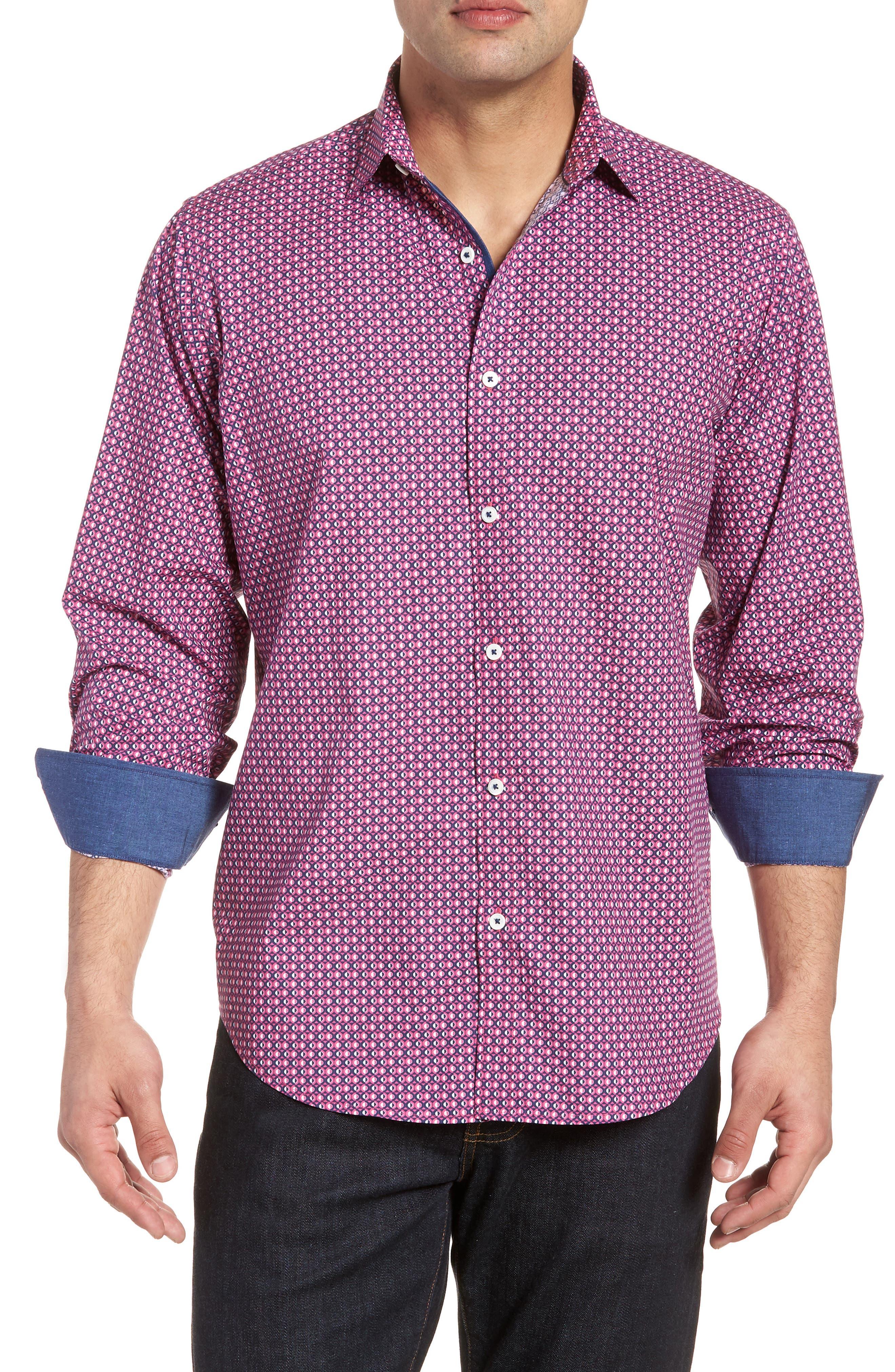 Classic Fit Woven Sport Shirt,                             Main thumbnail 1, color,                             Magenta