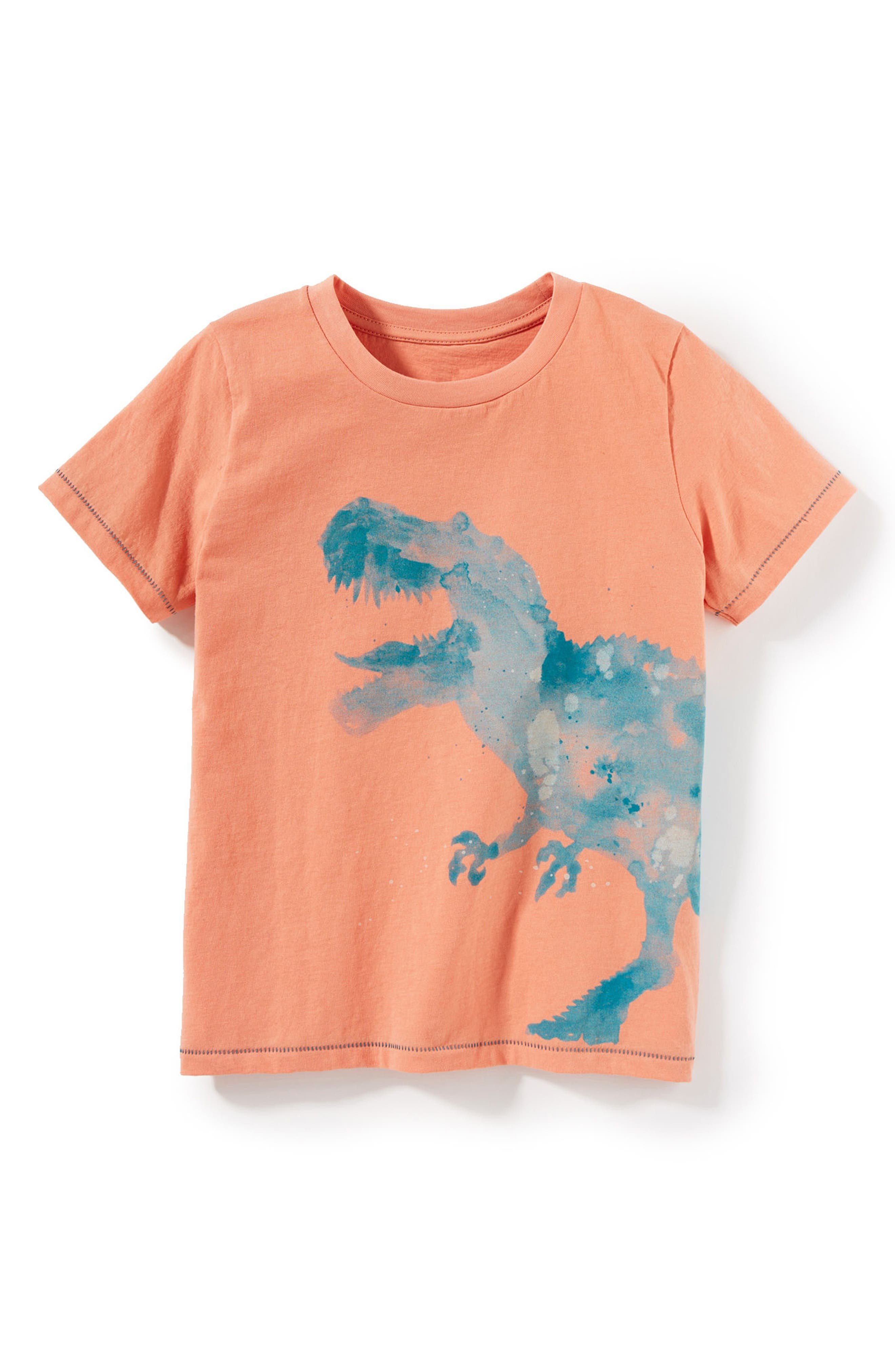 Dinosaur Graphic T-Shirt,                             Main thumbnail 1, color,                             Coral