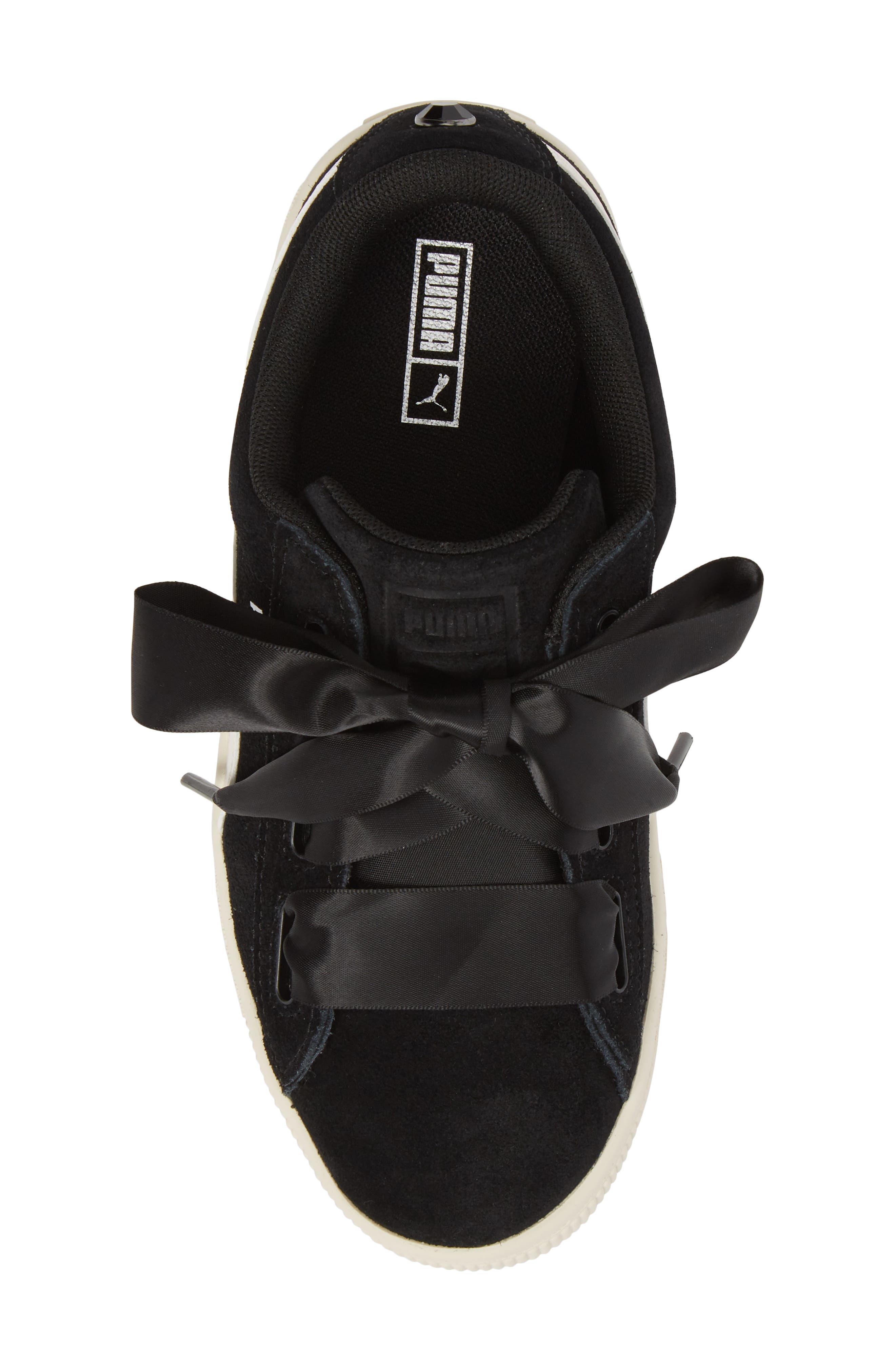 Suede Heart Sneaker,                             Alternate thumbnail 5, color,                             Puma Black/ Whisper White
