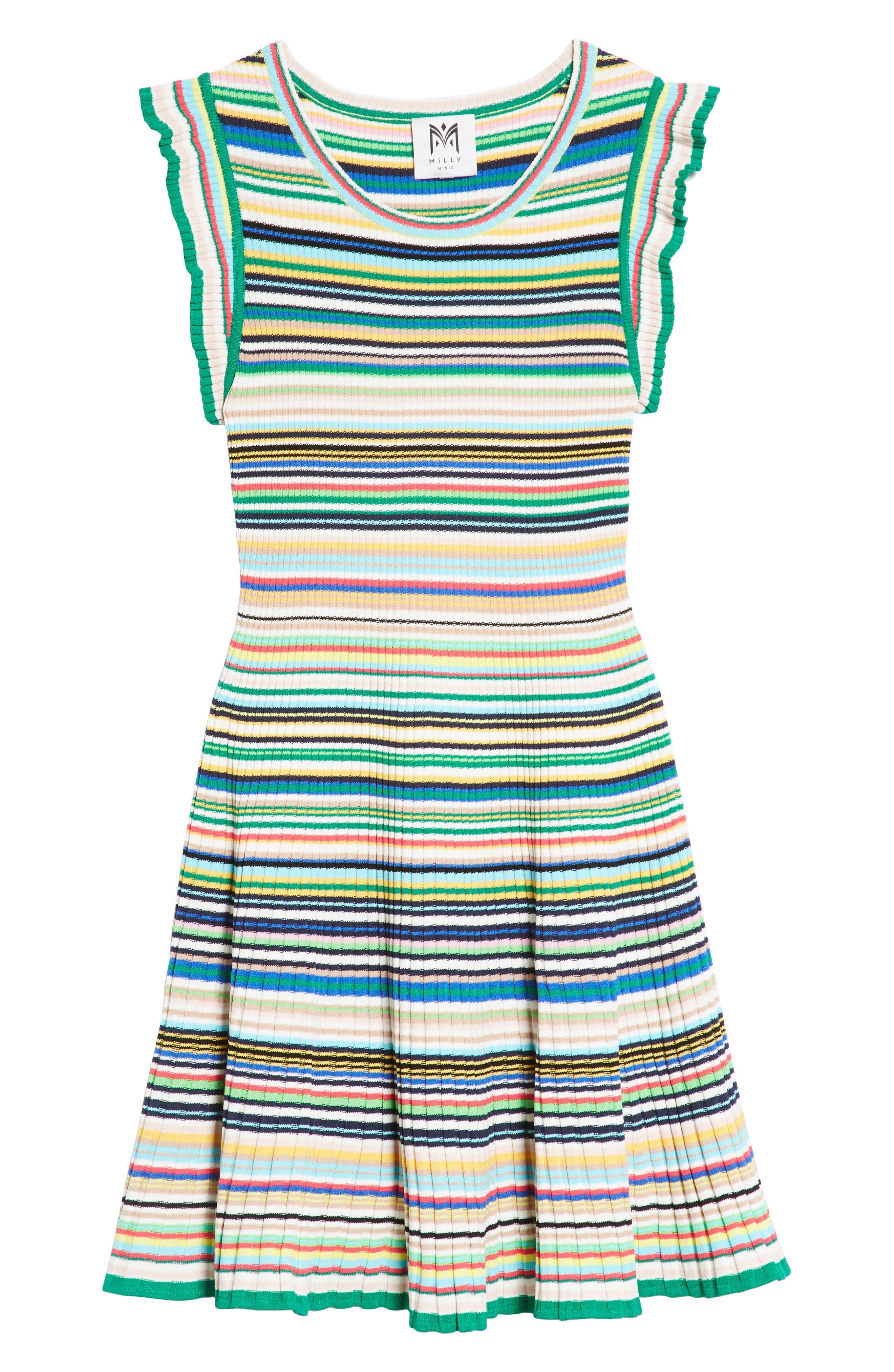 Milly Minis Microstripe Knit Fit & Flare Dress (Big Girls)