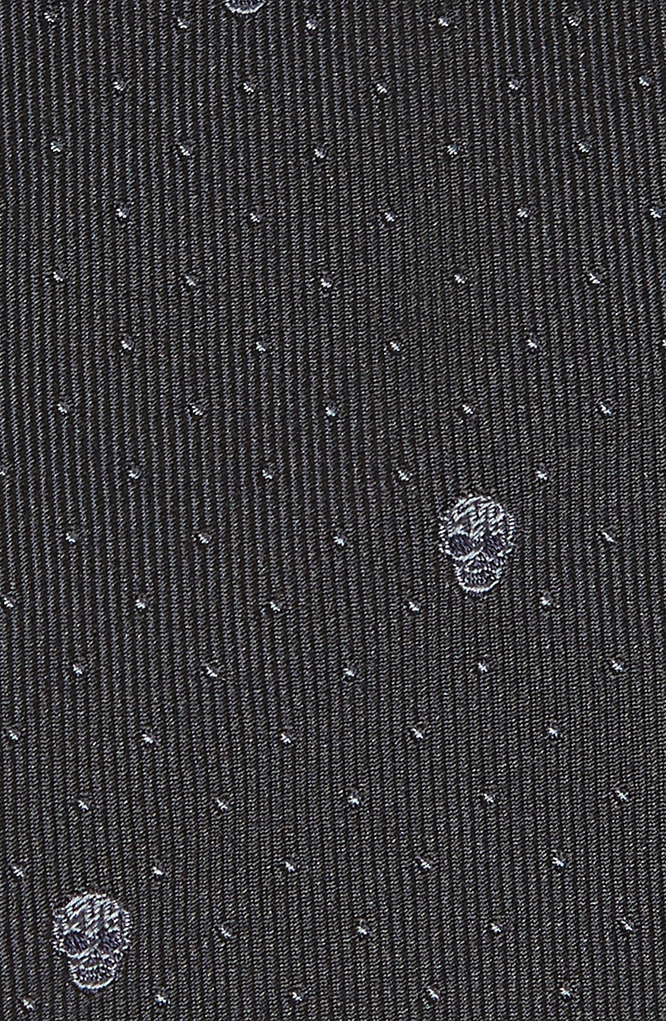 Skull Dot Silk Tie,                             Alternate thumbnail 2, color,                             Black