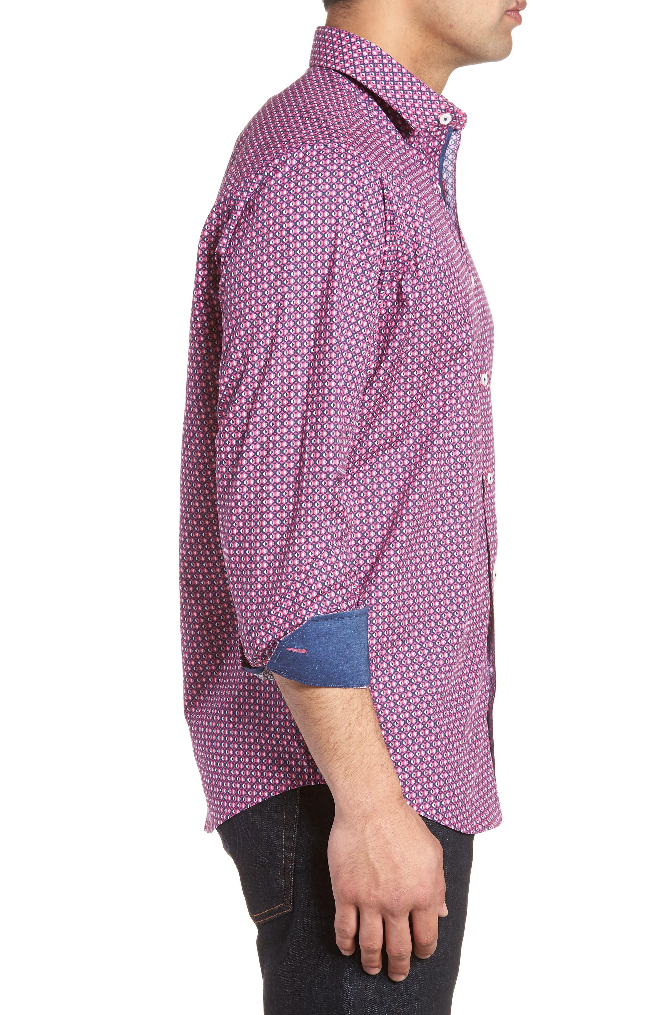Classic Fit Woven Sport Shirt,                             Alternate thumbnail 3, color,                             Magenta