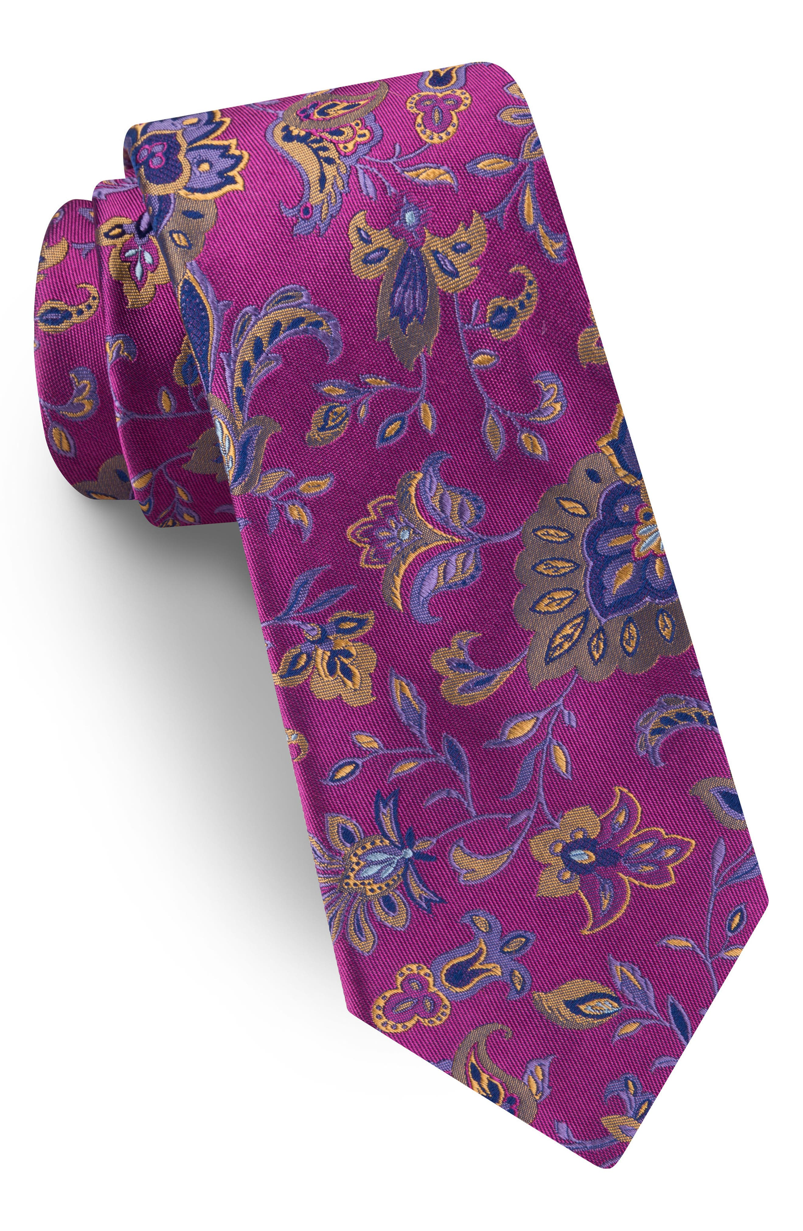 Floral Silk Tie,                             Main thumbnail 1, color,                             Pink