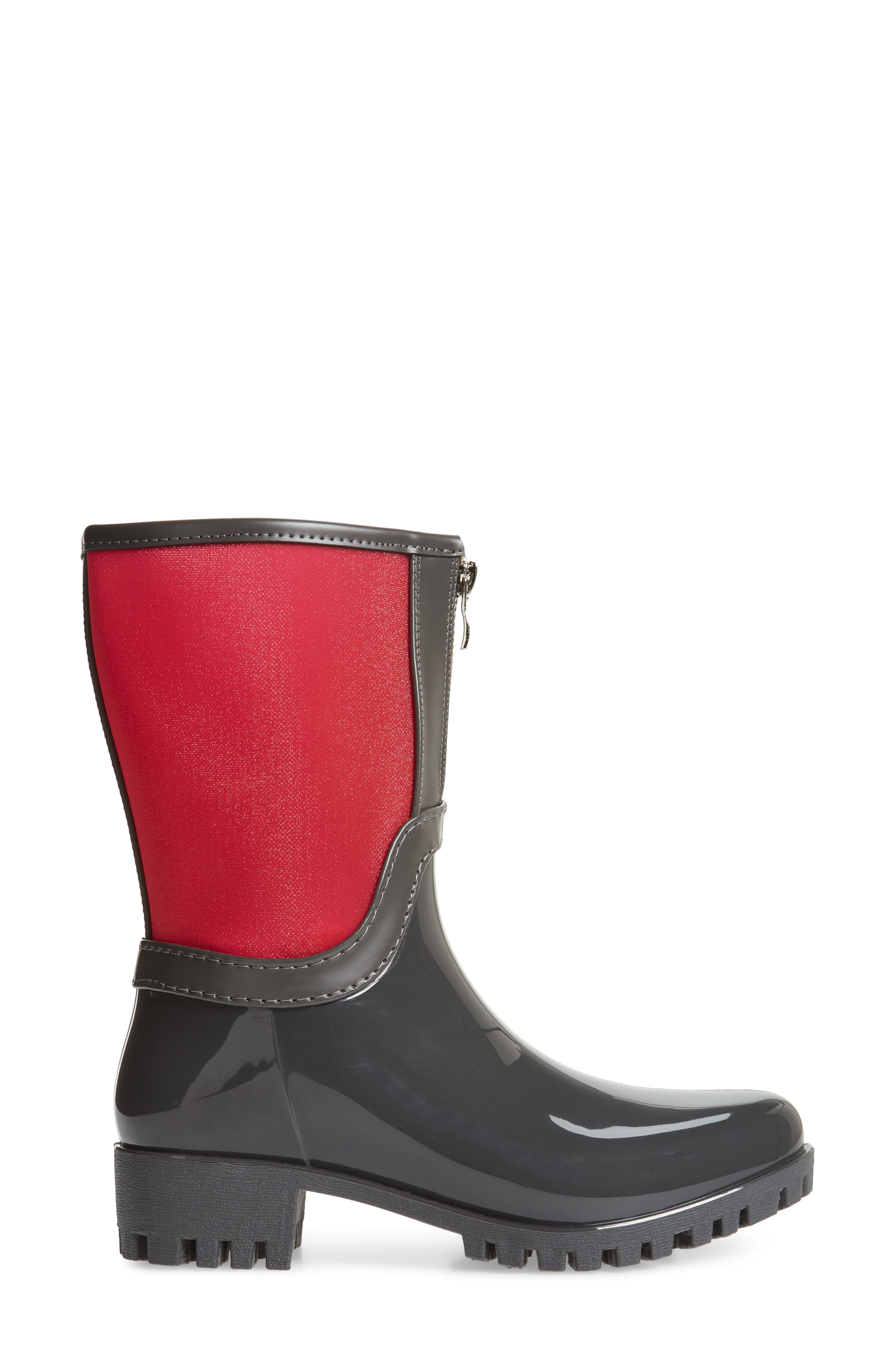 Dryden Sheer Waterproof Boot,                             Alternate thumbnail 3, color,                             Berry Fabric