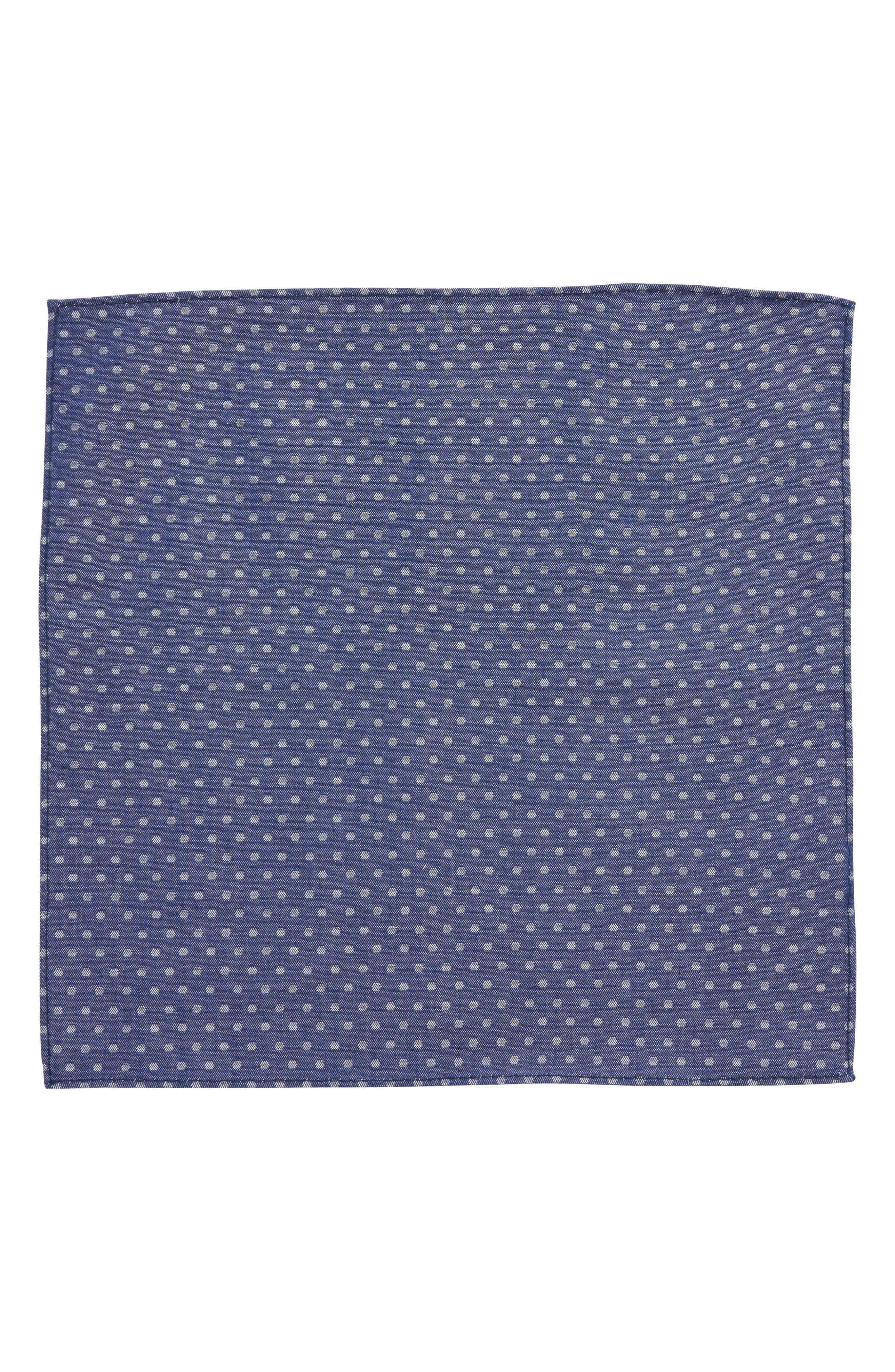 Polka Dot Silk Pocket Square,                             Alternate thumbnail 2, color,                             Blue