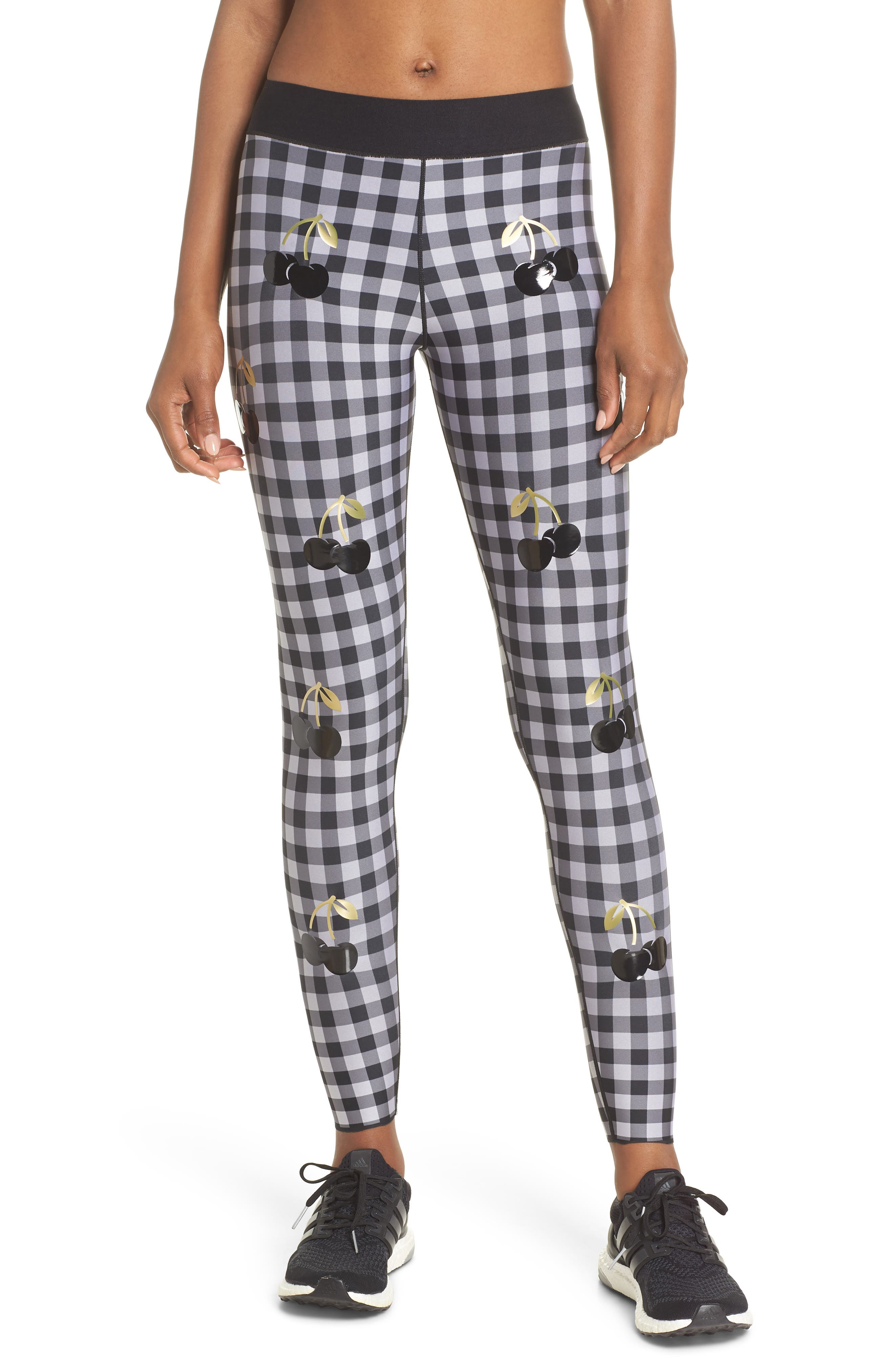 Ultra Cherry Check Leggings,                             Main thumbnail 1, color,                             Nero/ Patent Nero