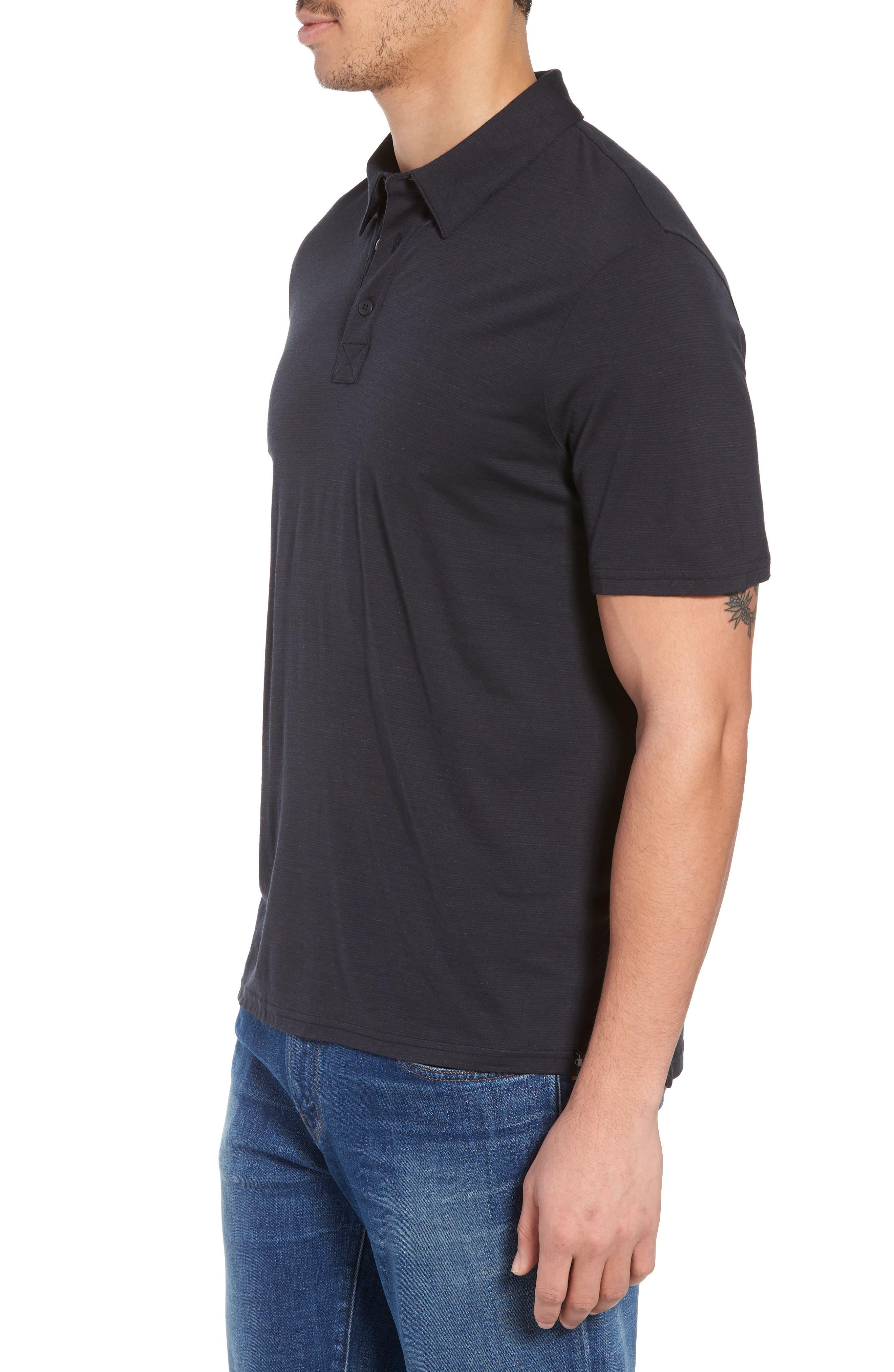 Merino 150 Wool Blend Polo Shirt,                             Alternate thumbnail 3, color,                             Charcoal