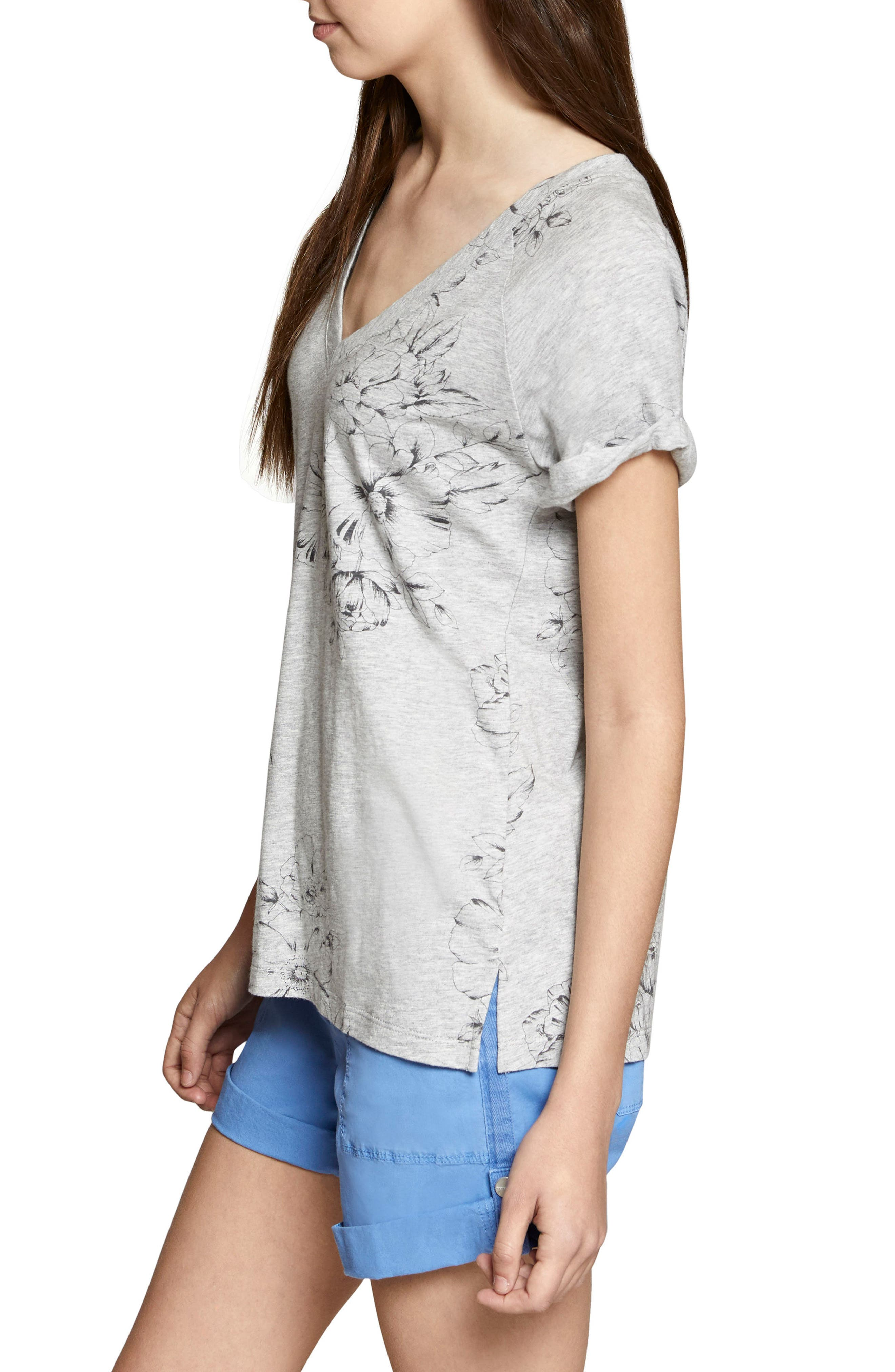 Hibiscus V-Neck Tee,                             Alternate thumbnail 3, color,                             Heather Grey