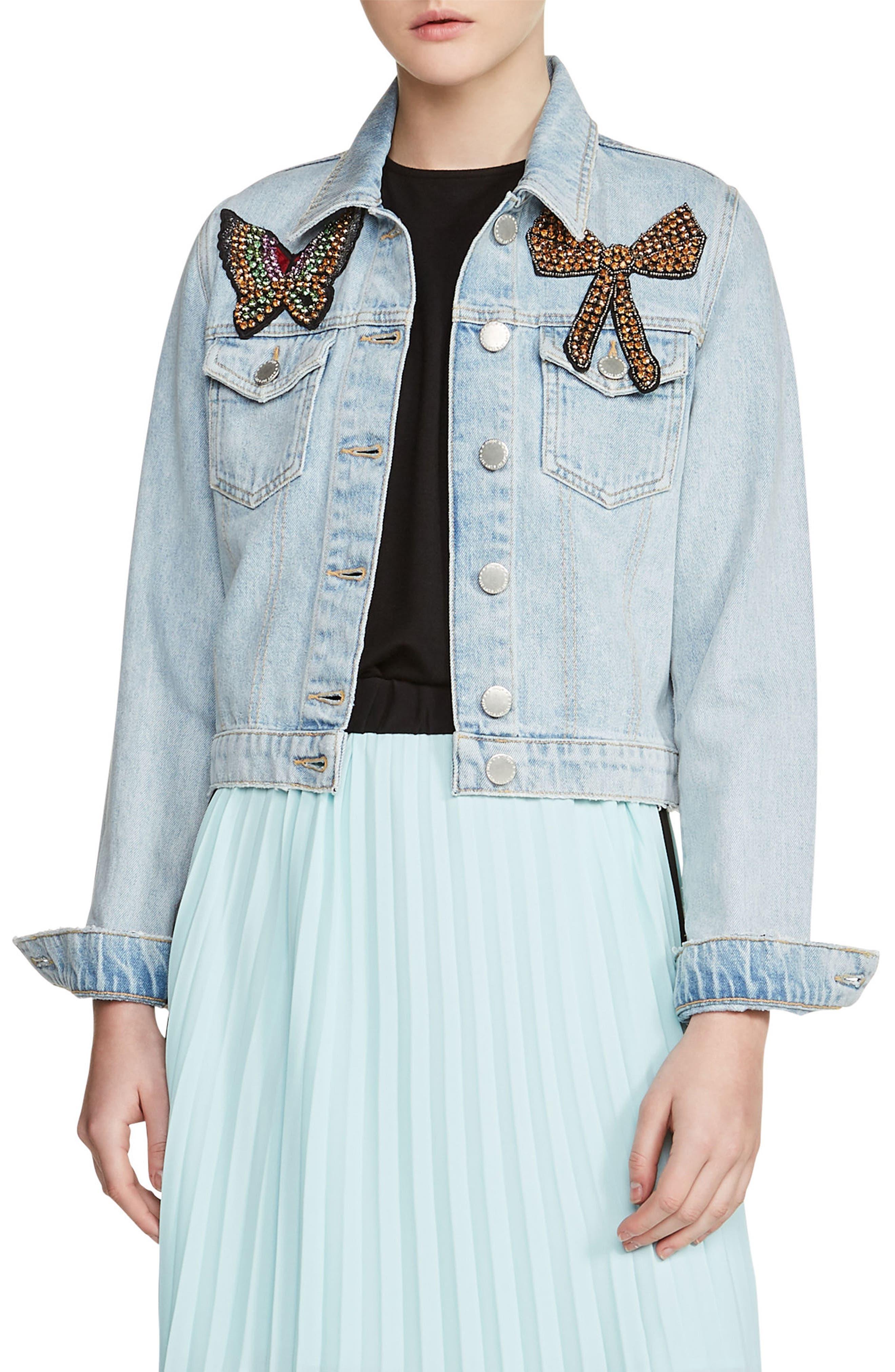 Vivou Embellished Denim Jacket,                         Main,                         color, Blue