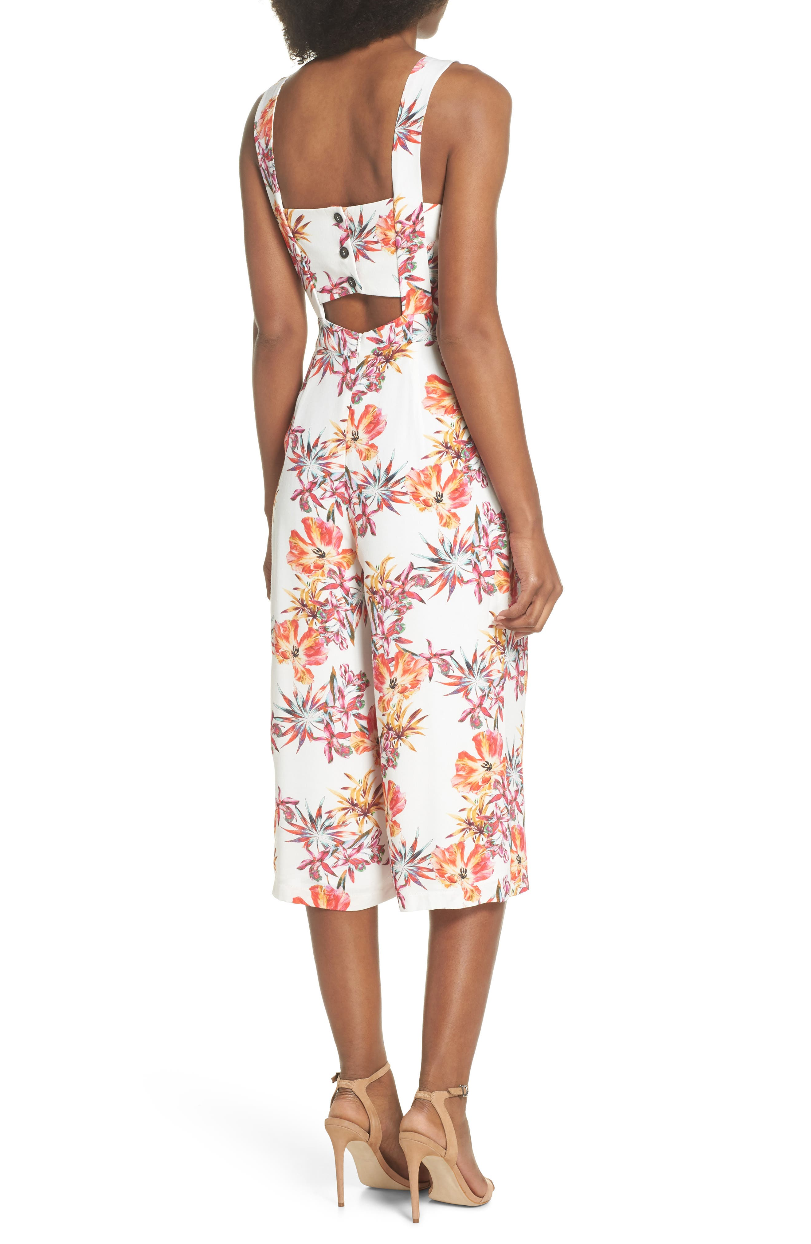 Eloise Floral Jumpsuit,                             Alternate thumbnail 2, color,                             Off White/ Red