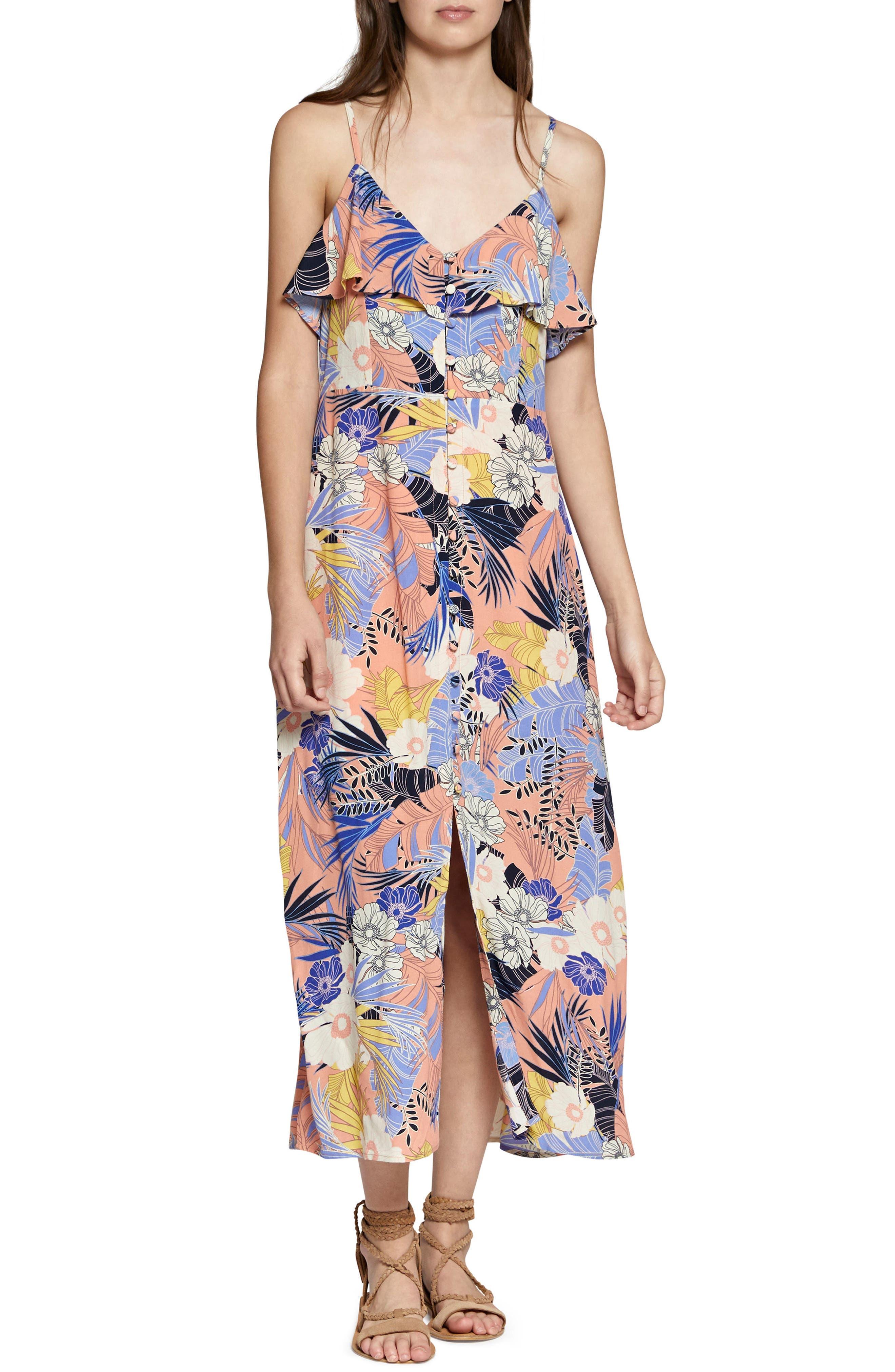 Isabella Print Maxi Dress,                         Main,                         color, Papaya Love