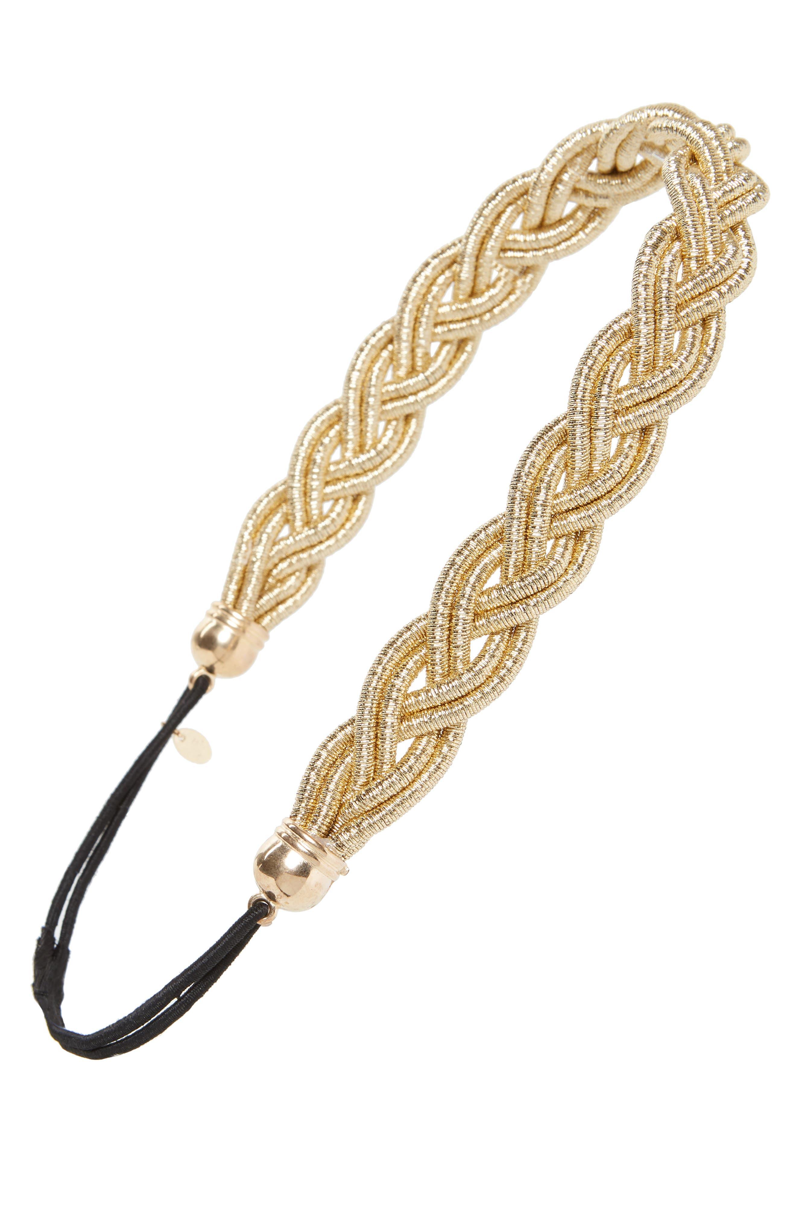 Metallic Braided Head Wrap,                             Main thumbnail 1, color,                             Gold