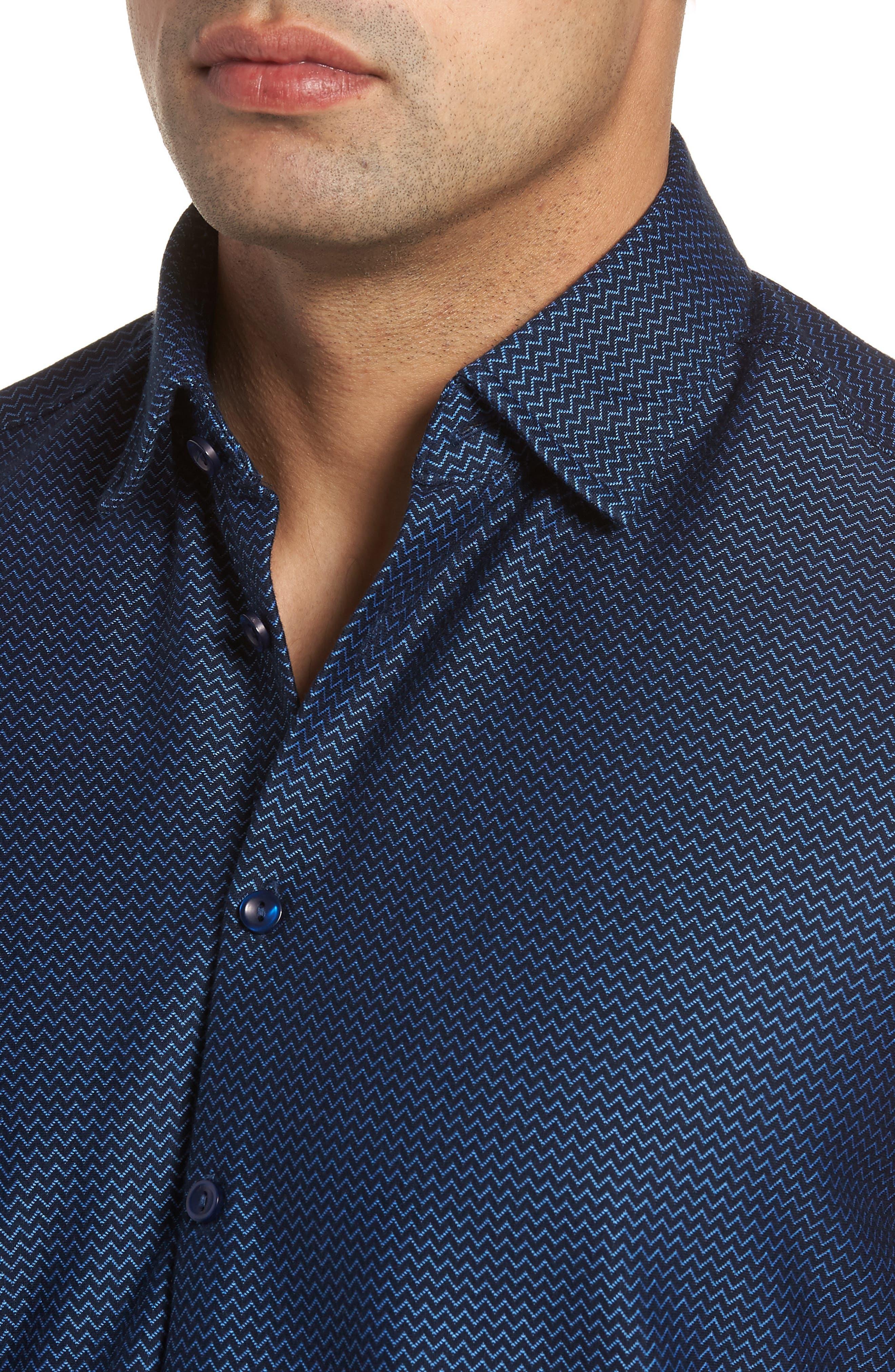 Contemporary Fit Chevron Tech Knit Sport Shirt,                             Alternate thumbnail 4, color,                             Navy