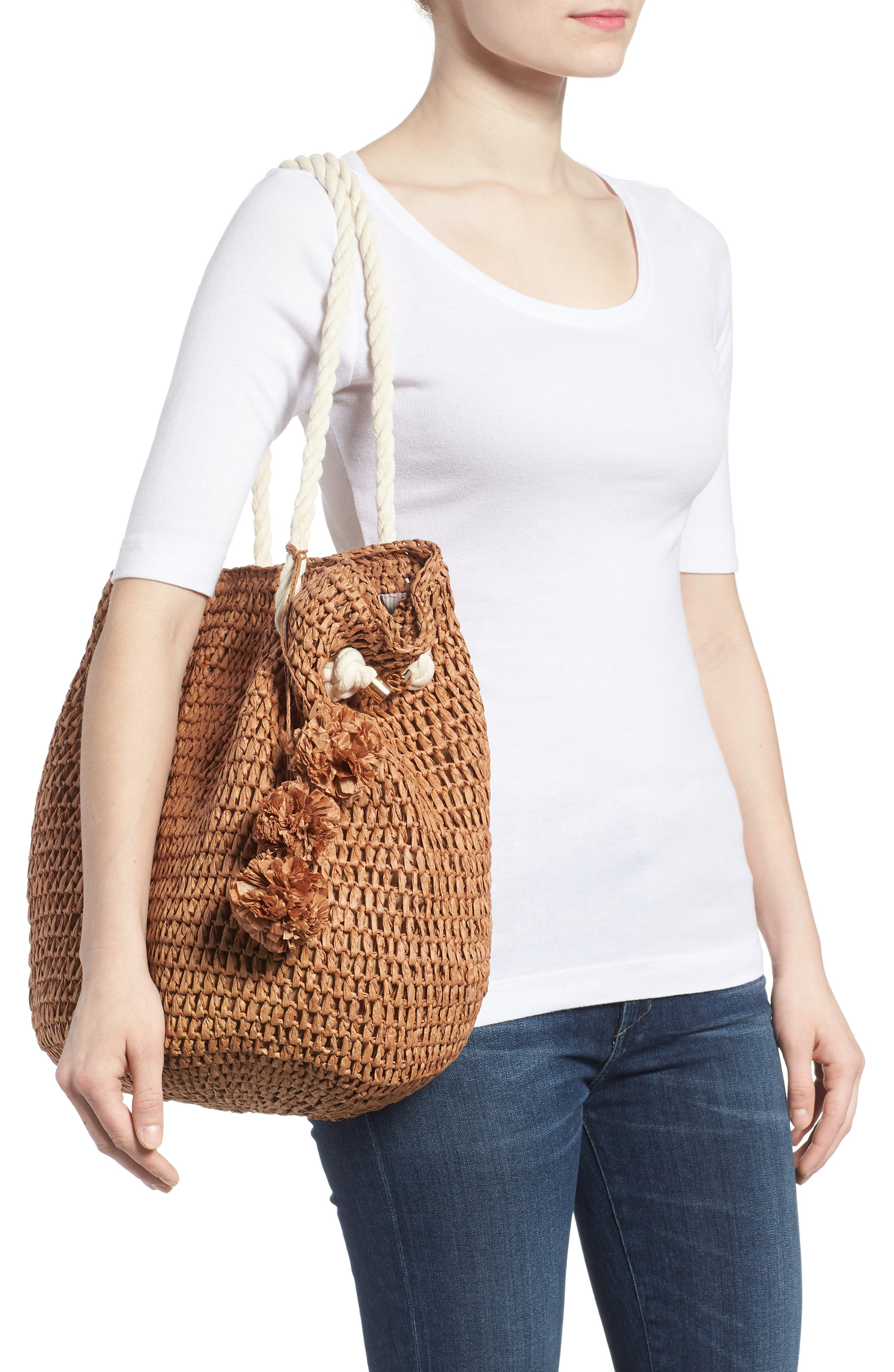 Mama Straw Bucket Bag,                             Alternate thumbnail 2, color,                             Toffee