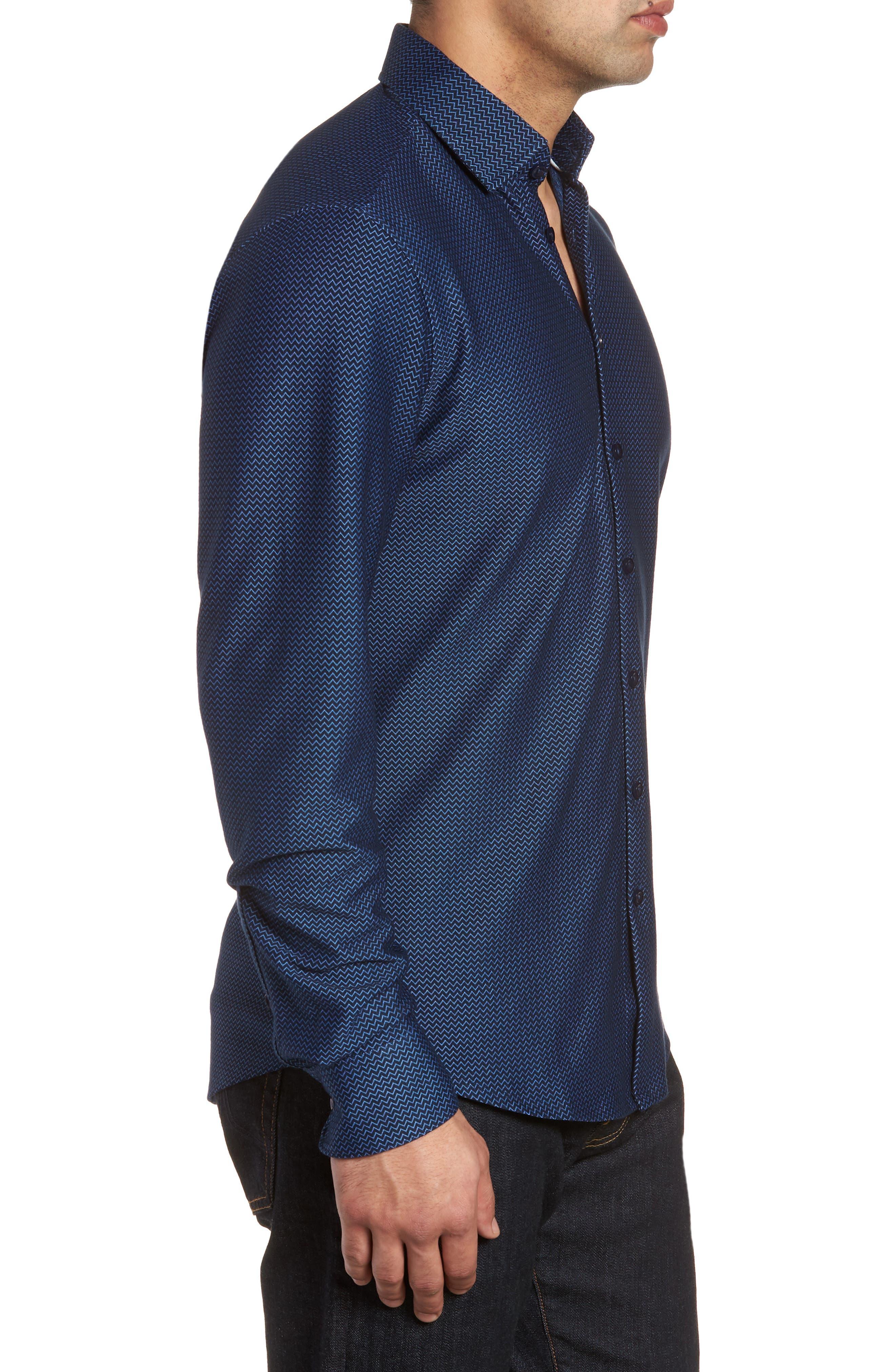 Contemporary Fit Chevron Tech Knit Sport Shirt,                             Alternate thumbnail 3, color,                             Navy