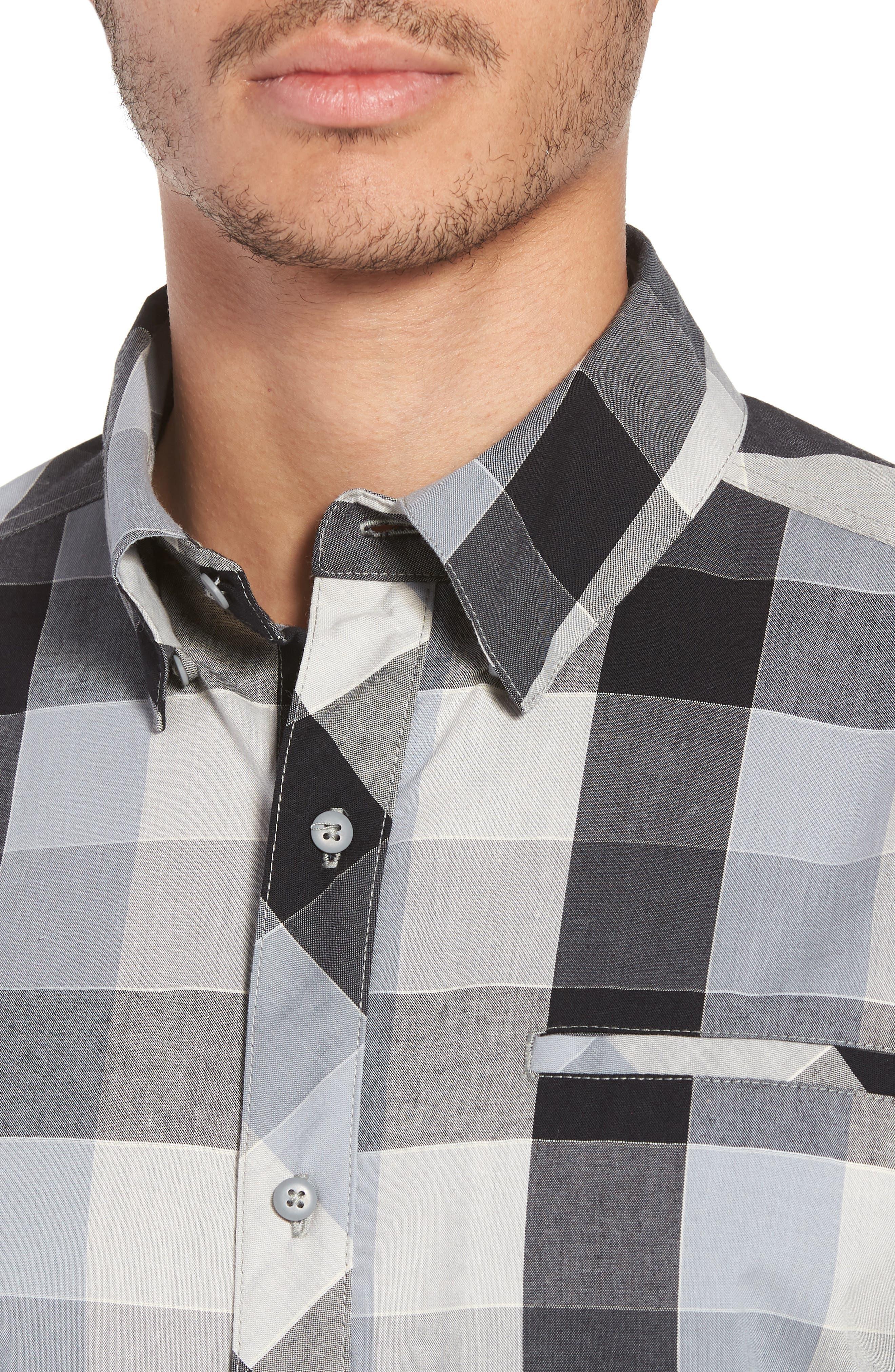 Everyday Exploration Short Sleeve Sport Shirt,                             Alternate thumbnail 4, color,                             Light Grey