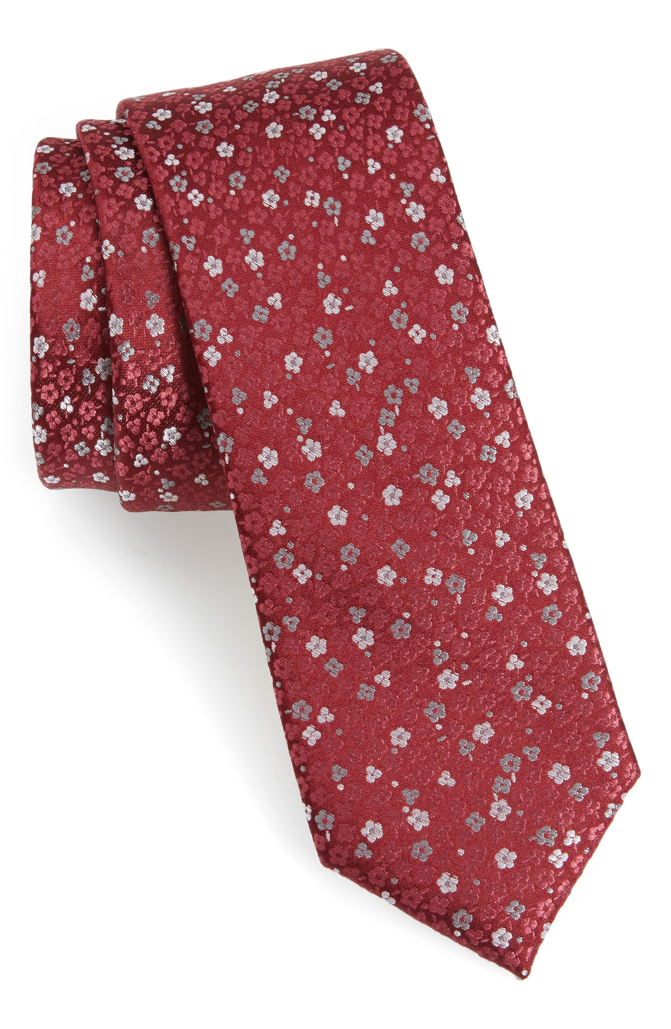 Flower Fields Silk Tie,                             Main thumbnail 1, color,                             Burgundy