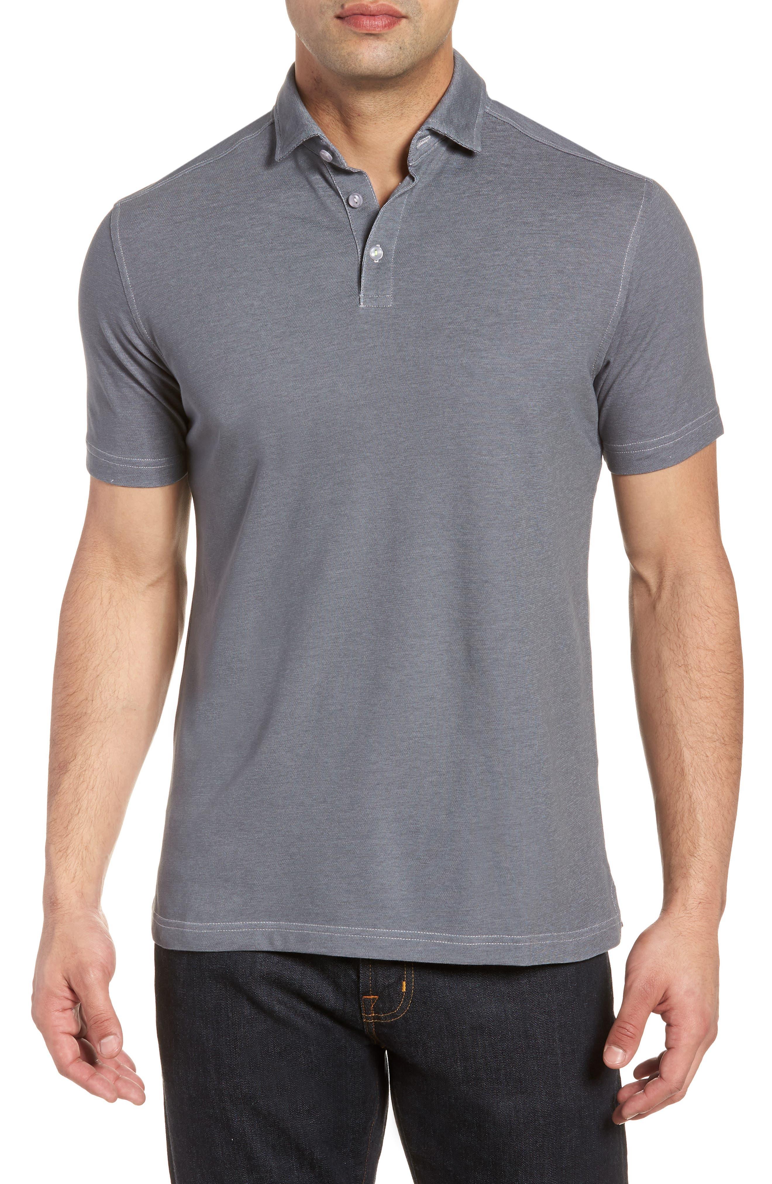 Knit Polo,                         Main,                         color, Grey