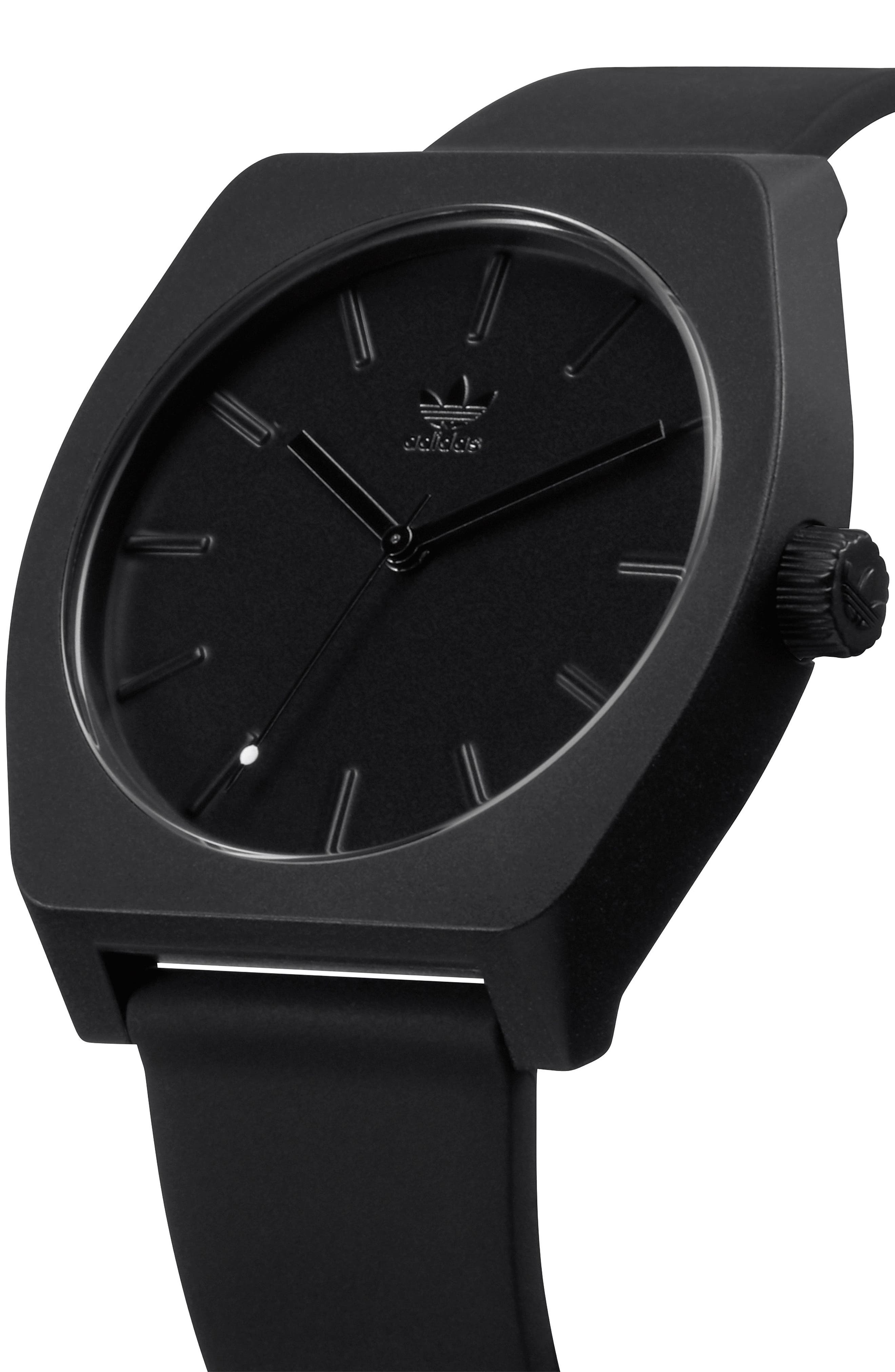 Process Silicone Strap Watch, 38mm,                             Alternate thumbnail 5, color,                             Black