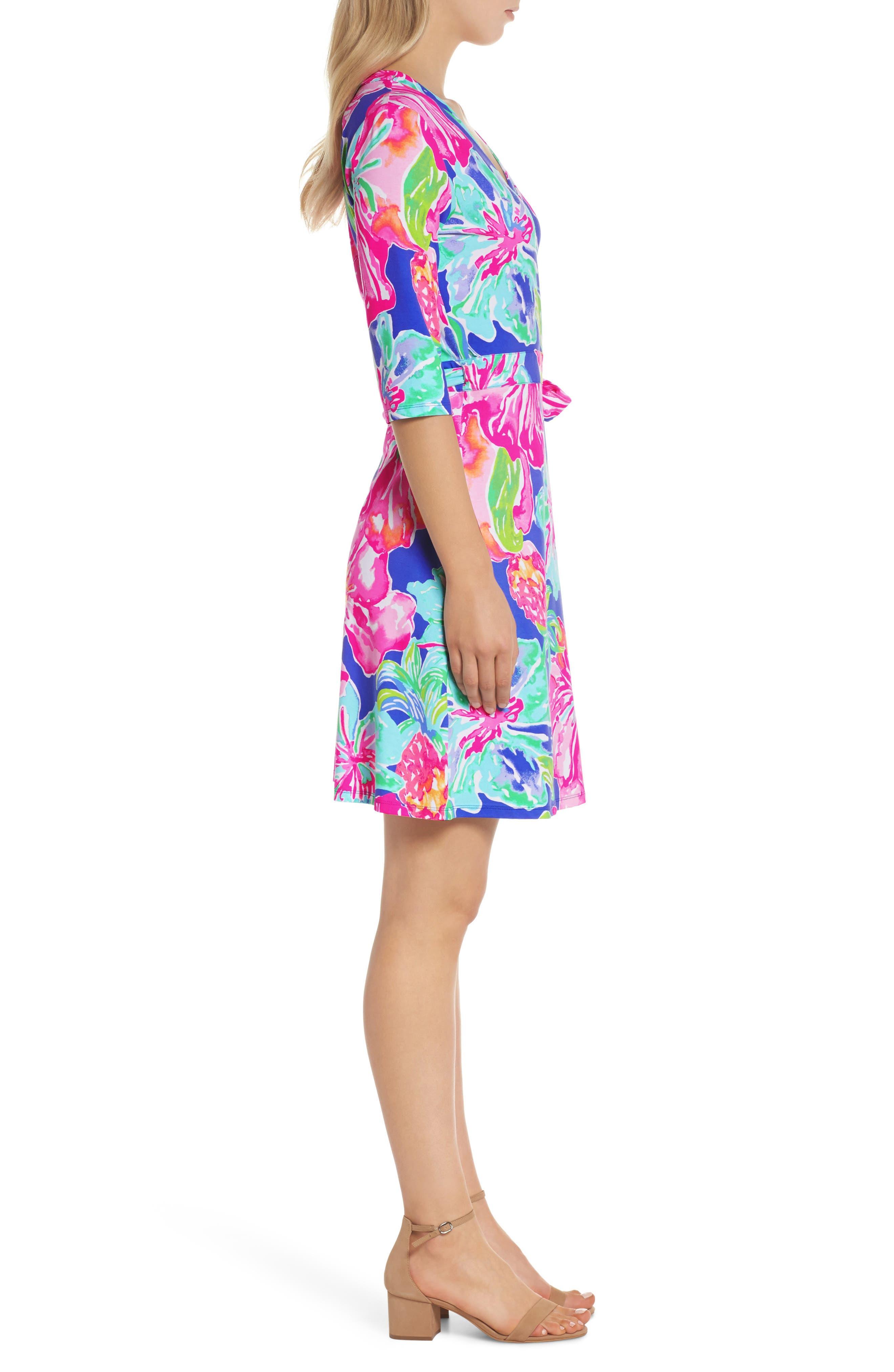 Marvista Wrap Dress,                             Alternate thumbnail 3, color,                             Beckon Blue Jungle Utopia