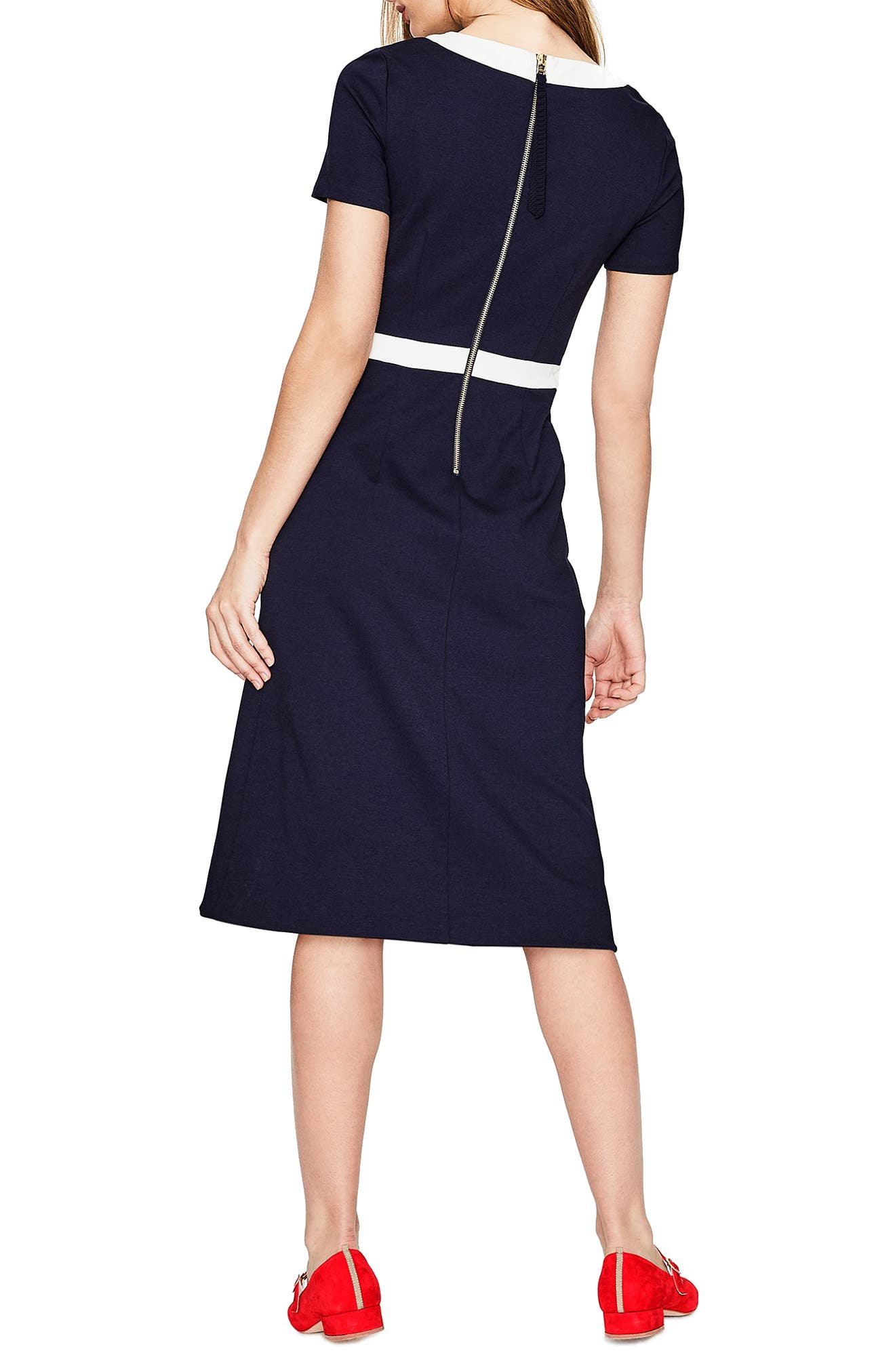 Colorblock A-Line Dress,                             Alternate thumbnail 3, color,                             Navy/ Ivory