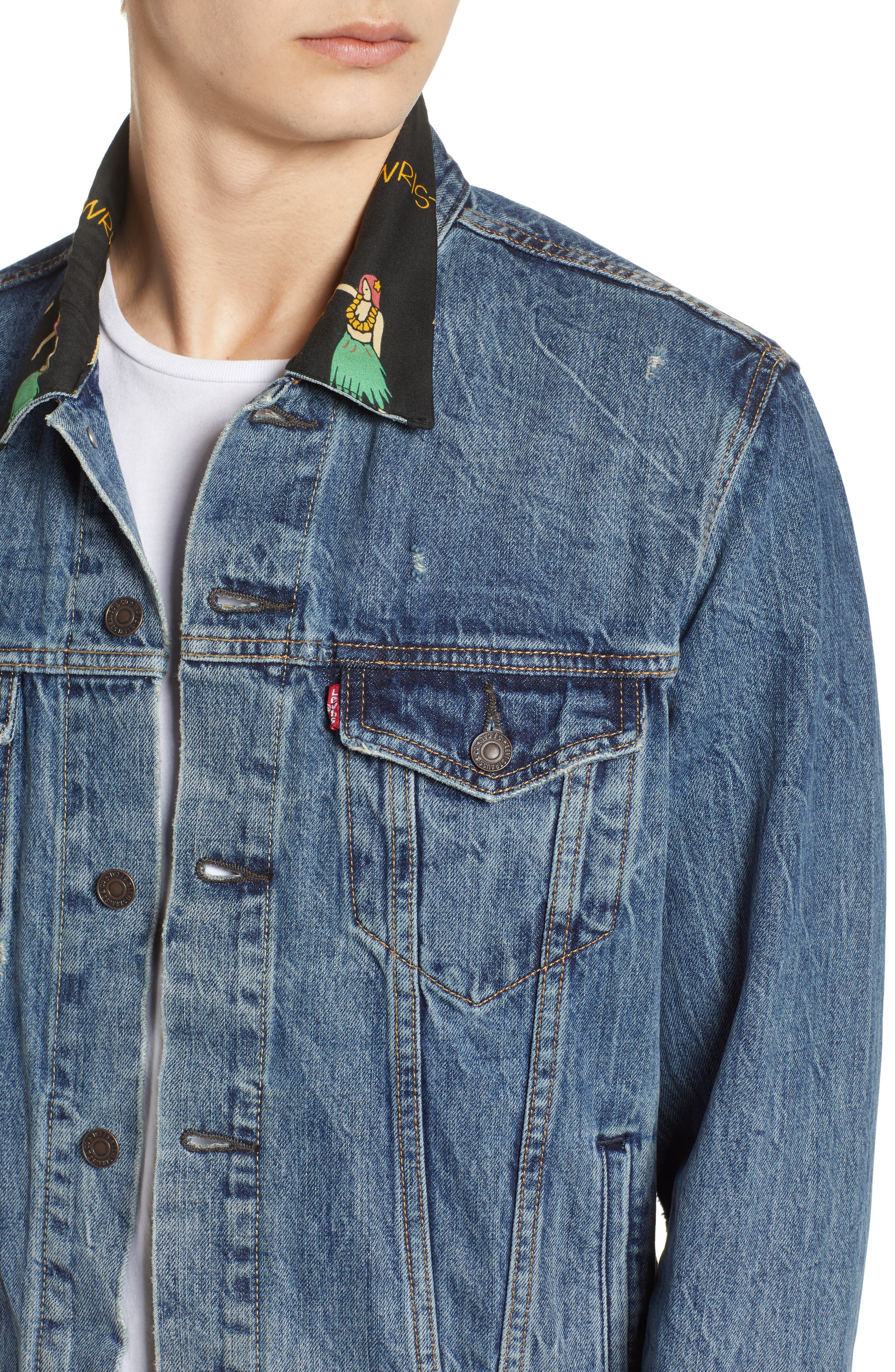 Denim Trucker Jacket,                             Alternate thumbnail 4, color,                             Hula Collar