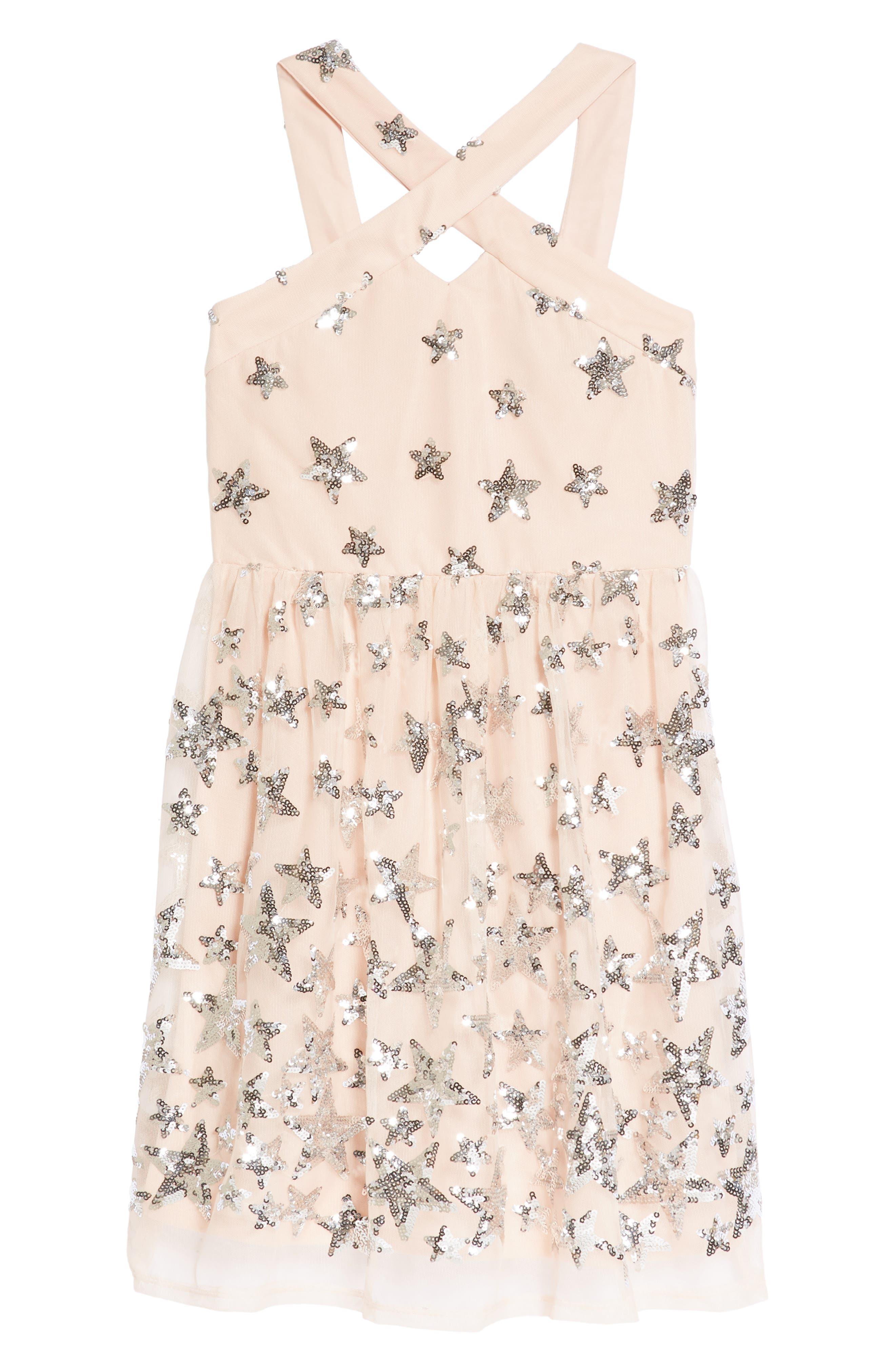 Sequin Embellished Star Party Dress,                         Main,                         color, Blush