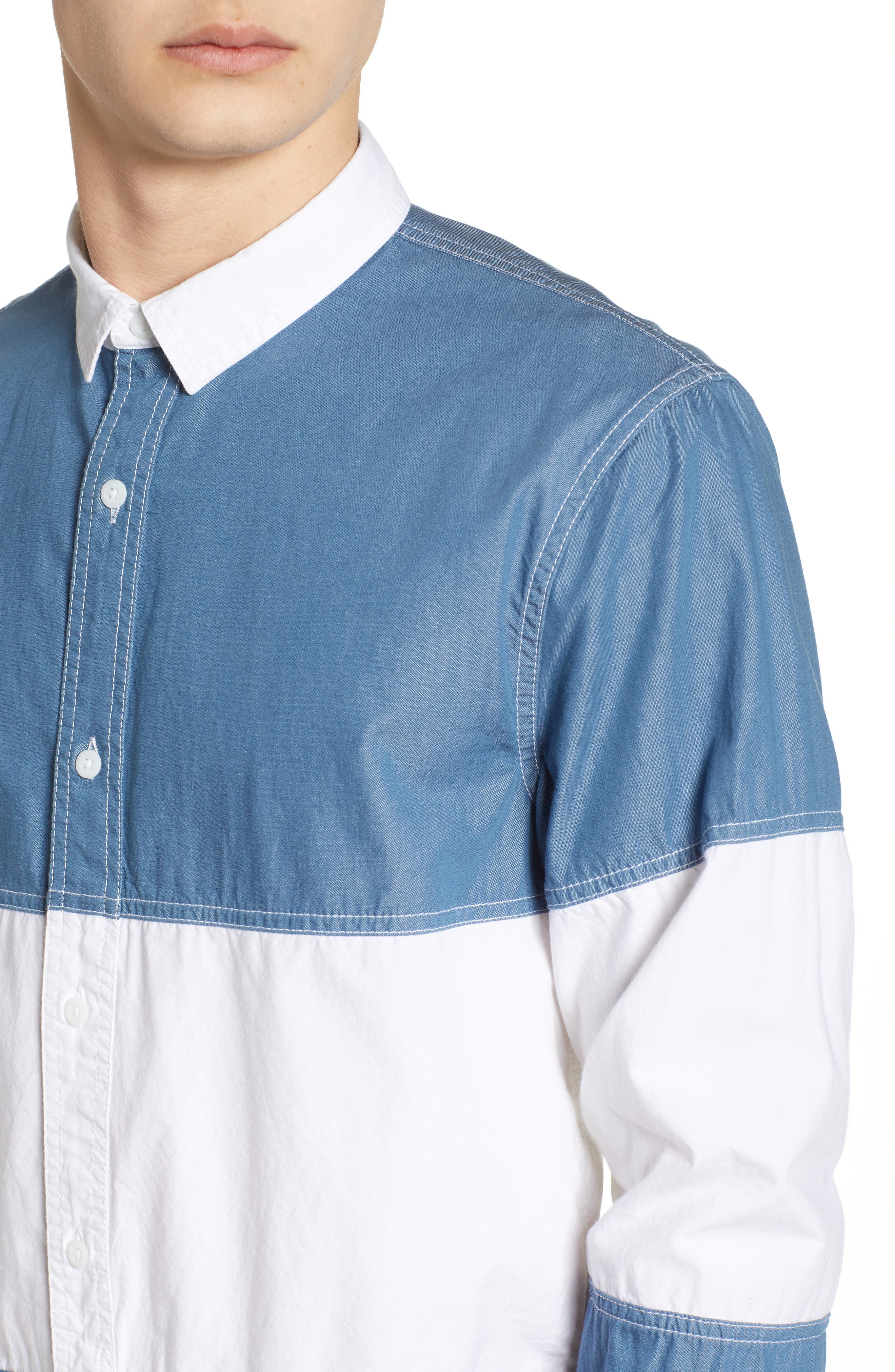 Colorblock Woven Shirt,                             Alternate thumbnail 4, color,                             Chambray White Block