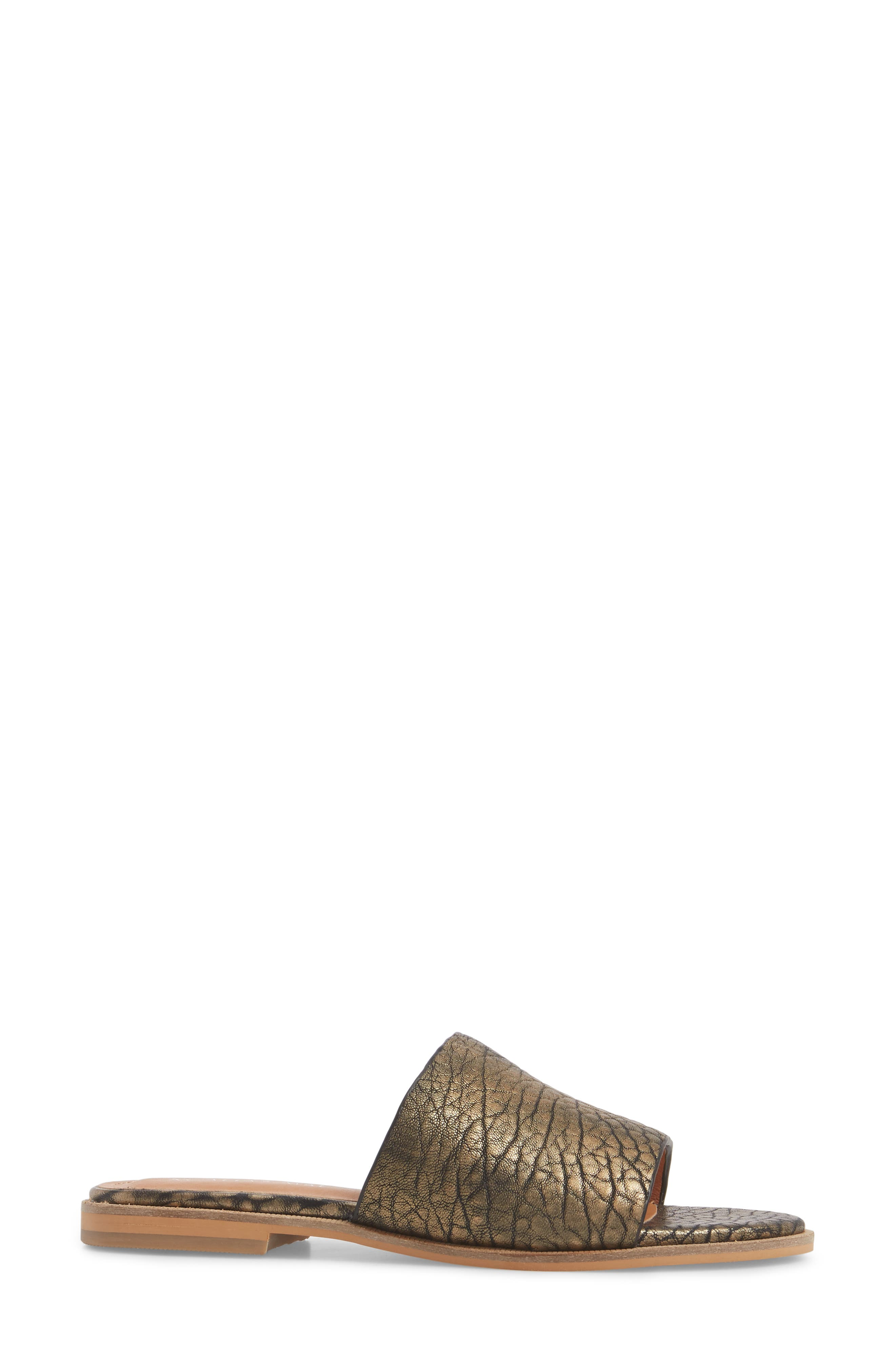 Therapy Slide Sandal,                             Alternate thumbnail 3, color,                             Gold Leather