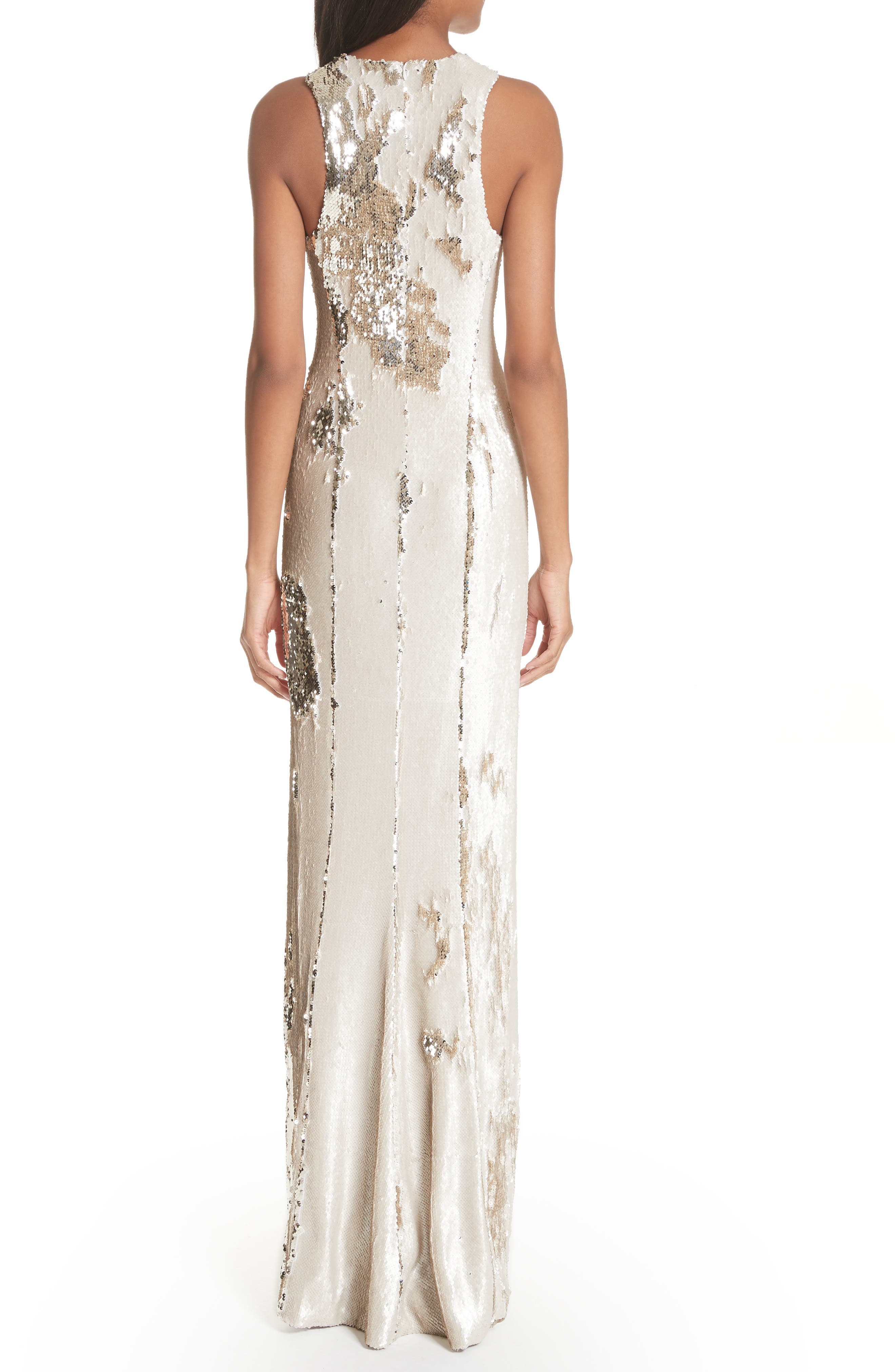 Sequin Column Gown,                             Alternate thumbnail 2, color,                             Nude Light Gold