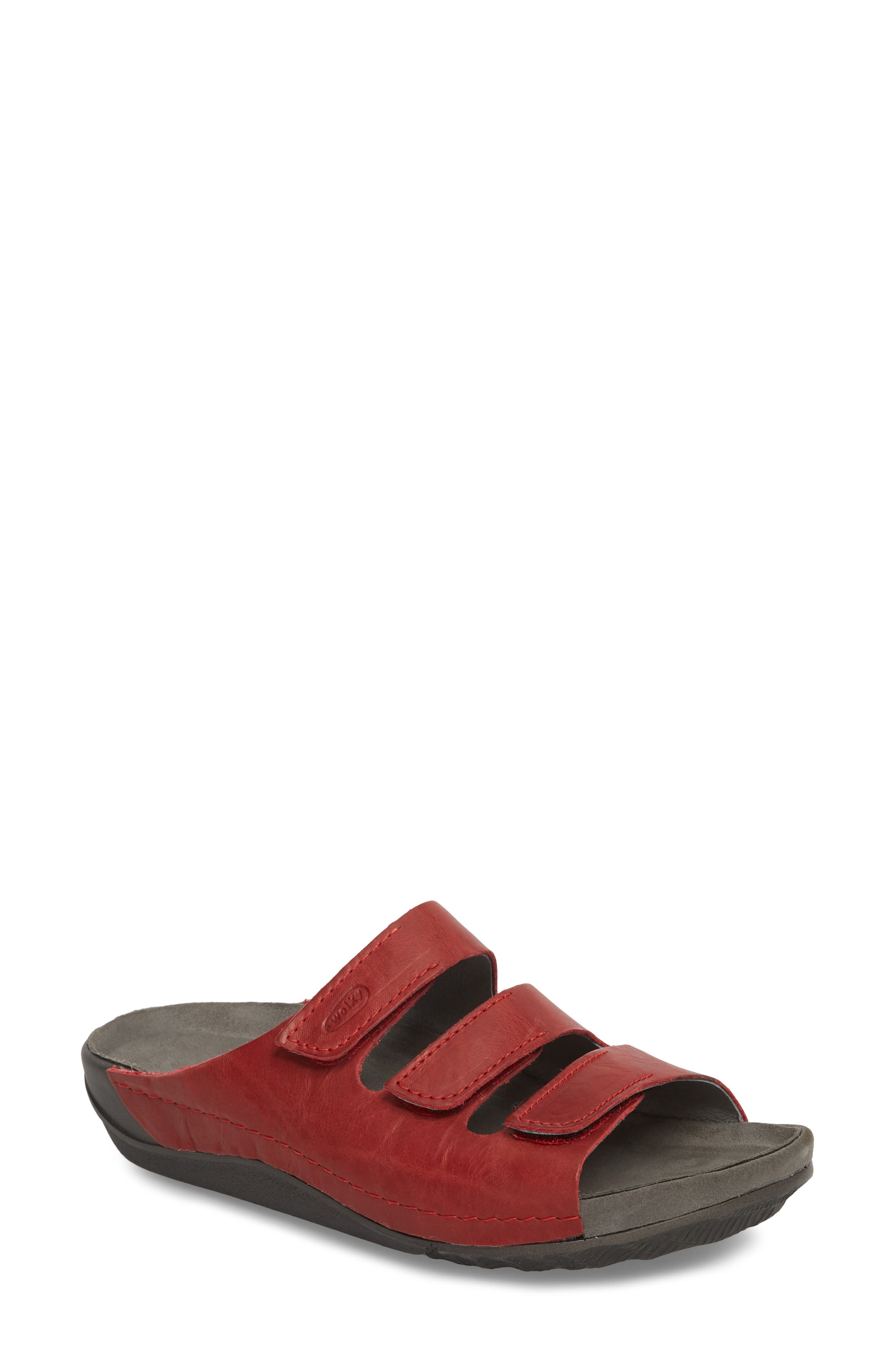 Nomad Slide Sandal,                             Main thumbnail 1, color,                             Red Leather