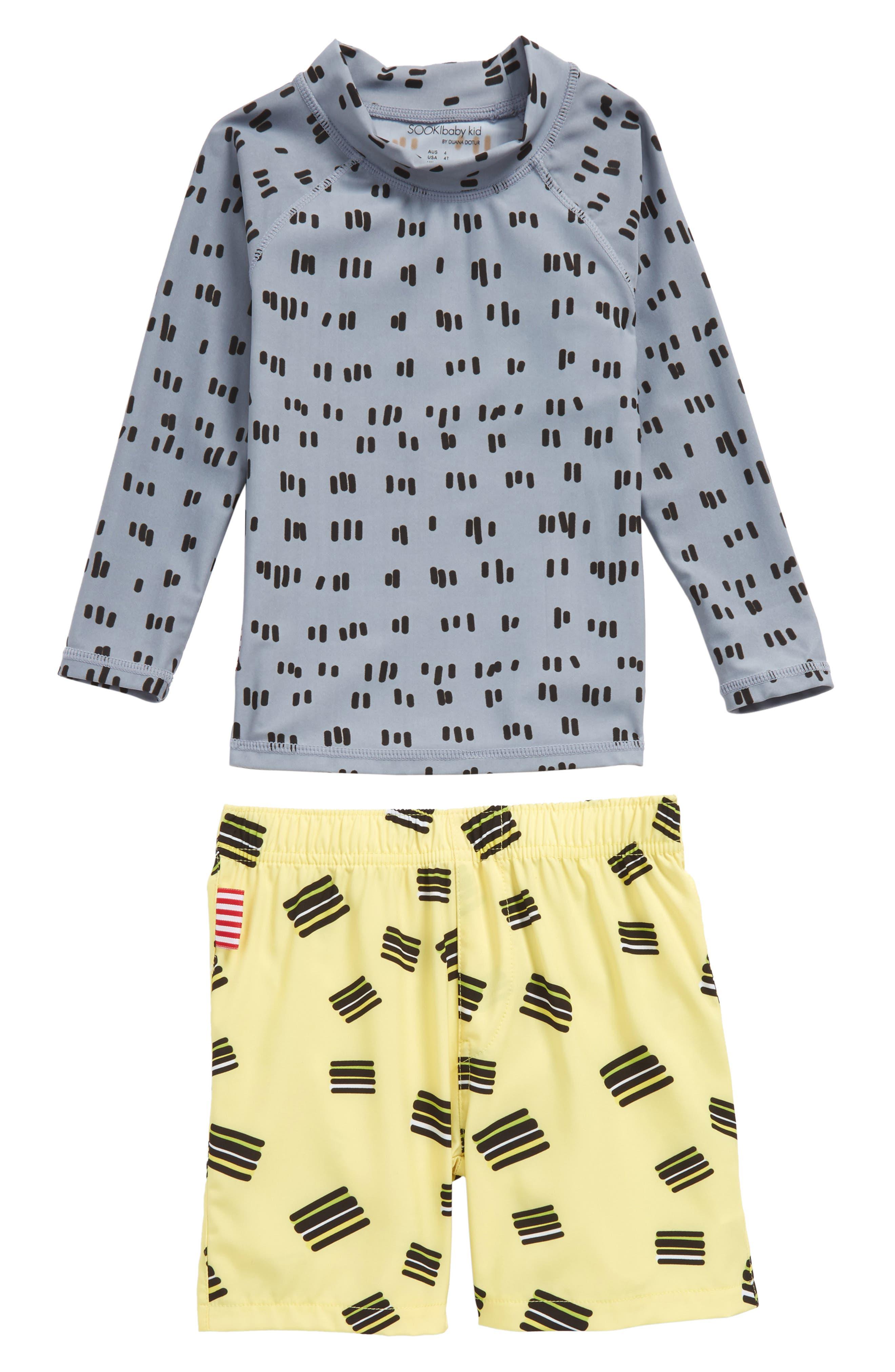 Licorice Two-Piece Rashguard Swim Suit,                             Main thumbnail 1, color,                             Grey Multi