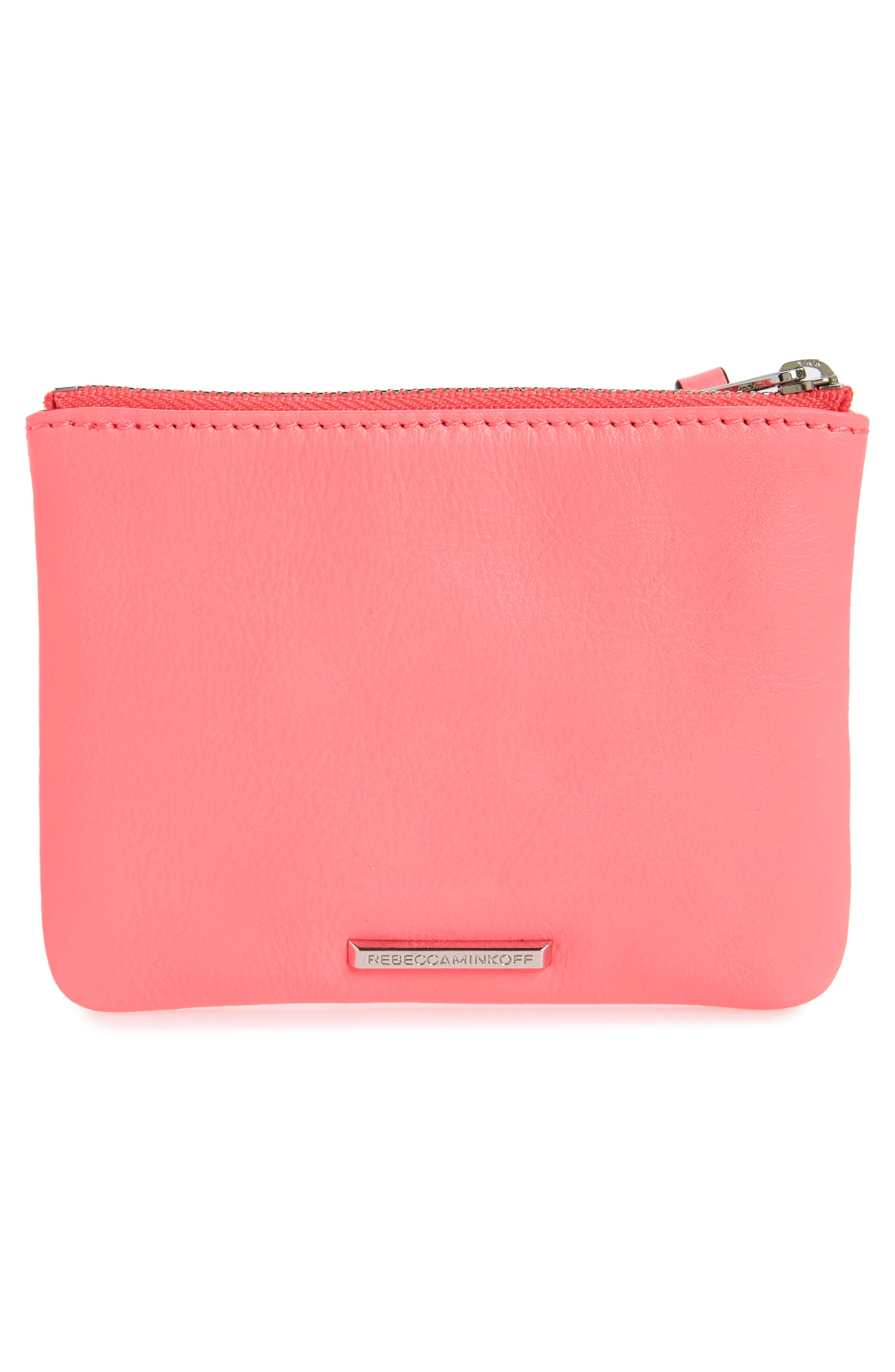 Betty - Be a Unicorn Leather Pouch,                             Alternate thumbnail 3, color,                             Neon Pink