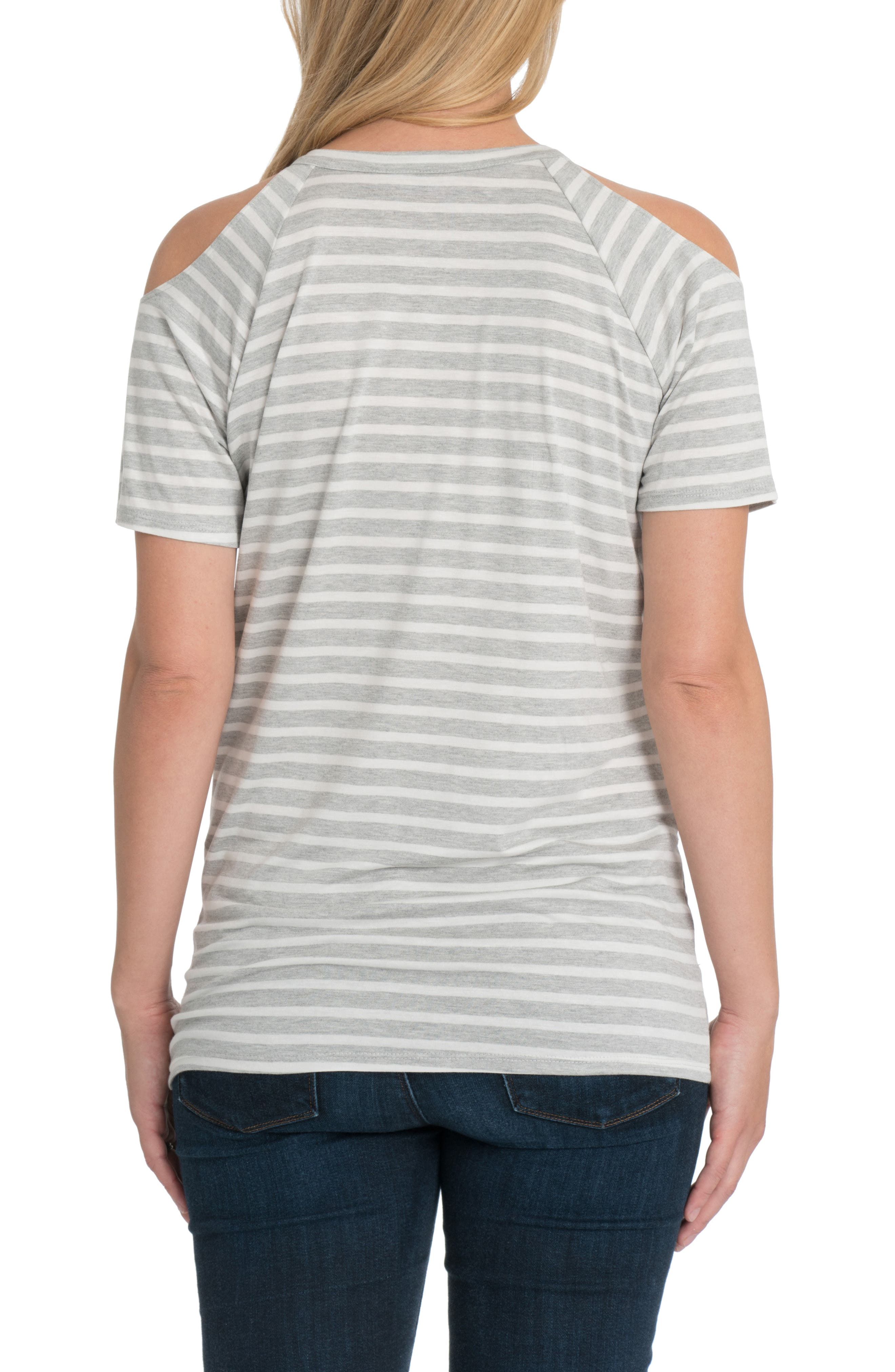 Bliss Cold Shoulder Maternity/Nursing Tee,                             Alternate thumbnail 2, color,                             Gray And White Stripe