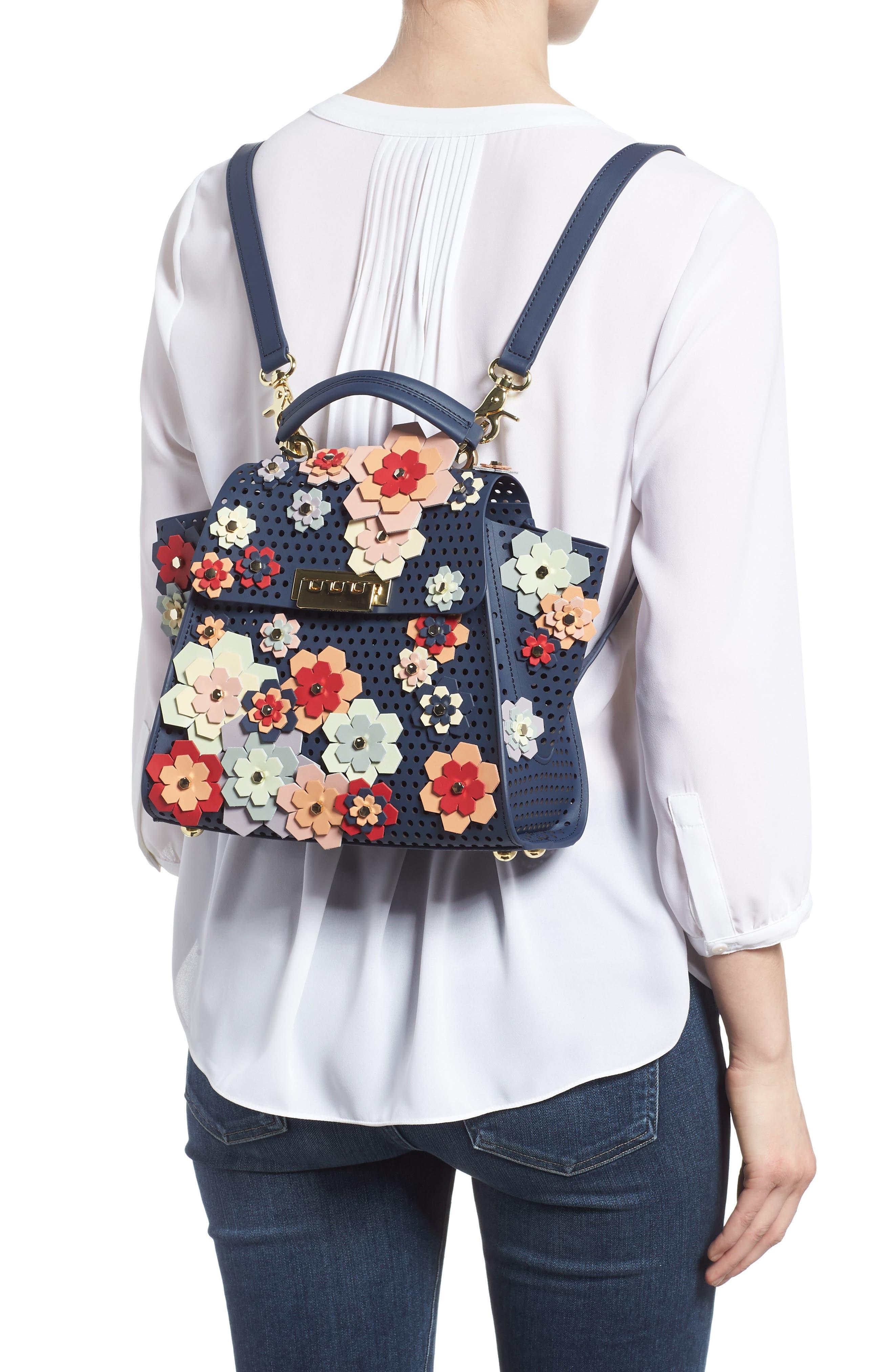 Eartha Kit Convertible Calfskin Leather Backpack,                             Alternate thumbnail 2, color,                             Blue/ Rainbow