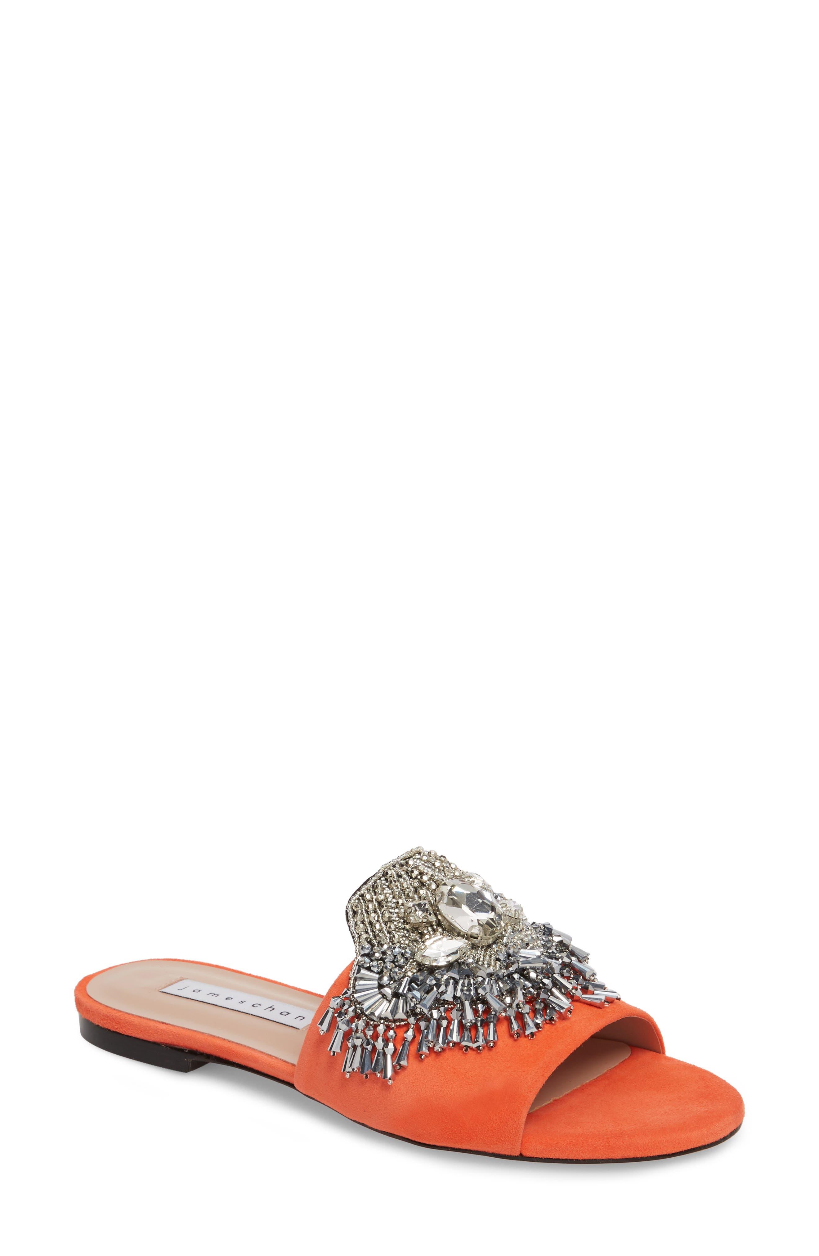Jallie Crystal Embellished Slide,                         Main,                         color, Sun Kiss Suede