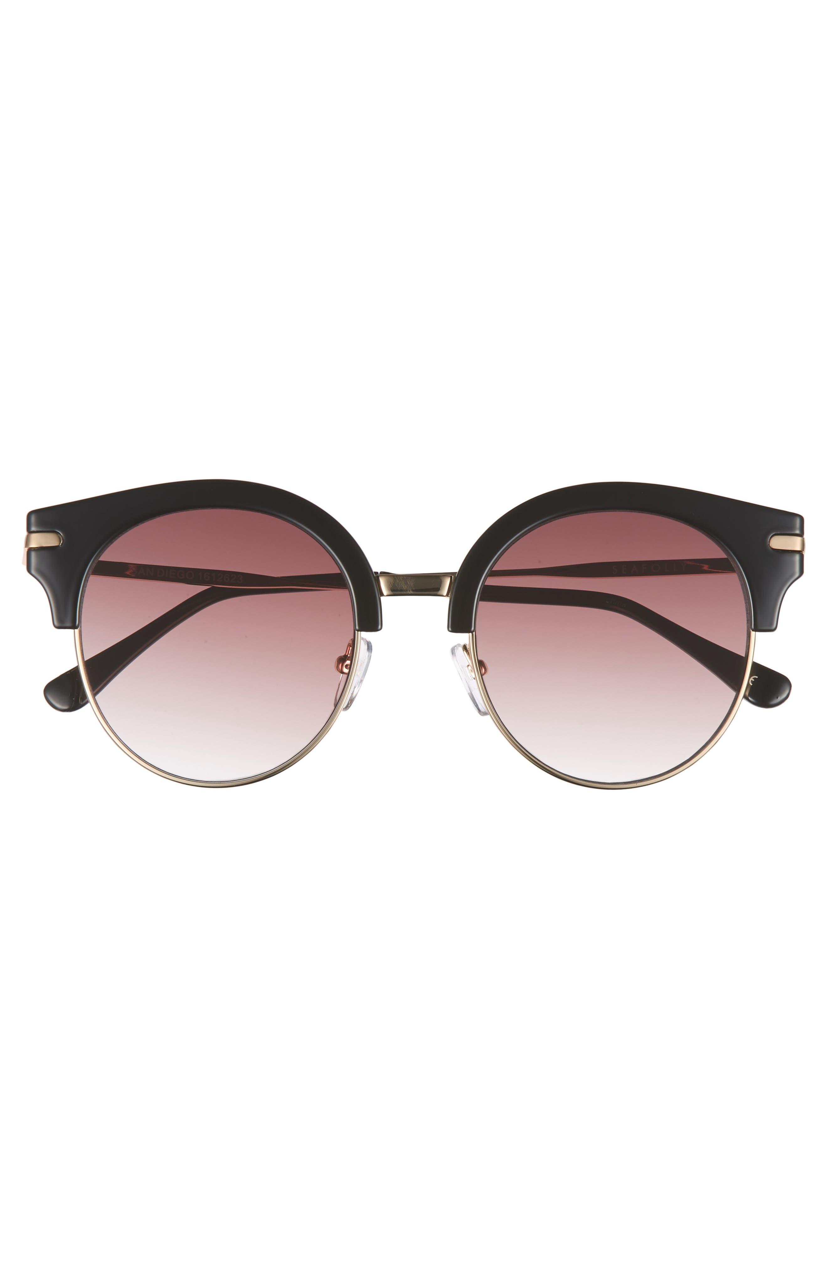 San Diego 52mm Cat Eye Sunglasses,                             Alternate thumbnail 3, color,                             Black