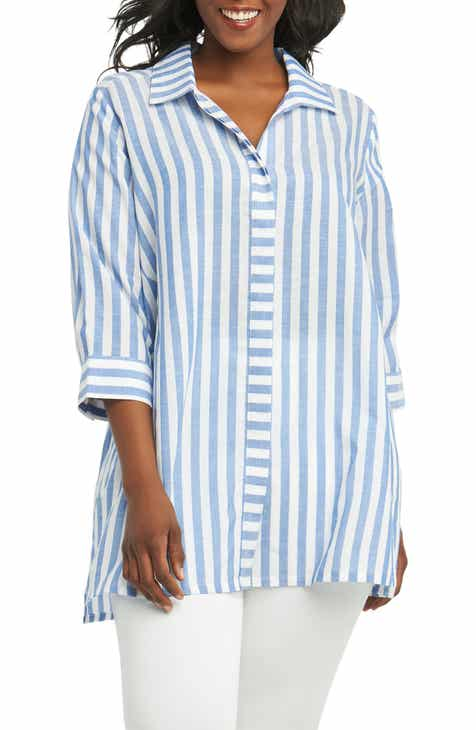 1125df7b190df9 Foxcroft Skye Stripe Tunic Shirt (Plus Size)
