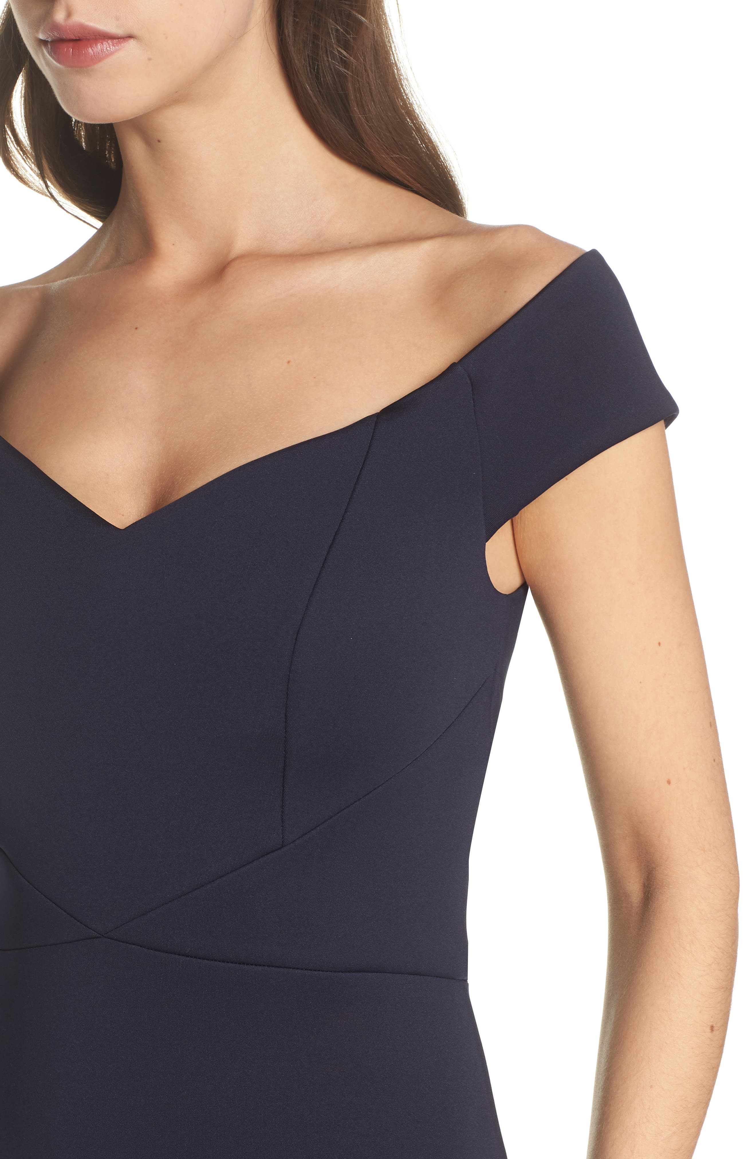 Off the Shoulder Trumpet Gown,                             Alternate thumbnail 4, color,                             Navy