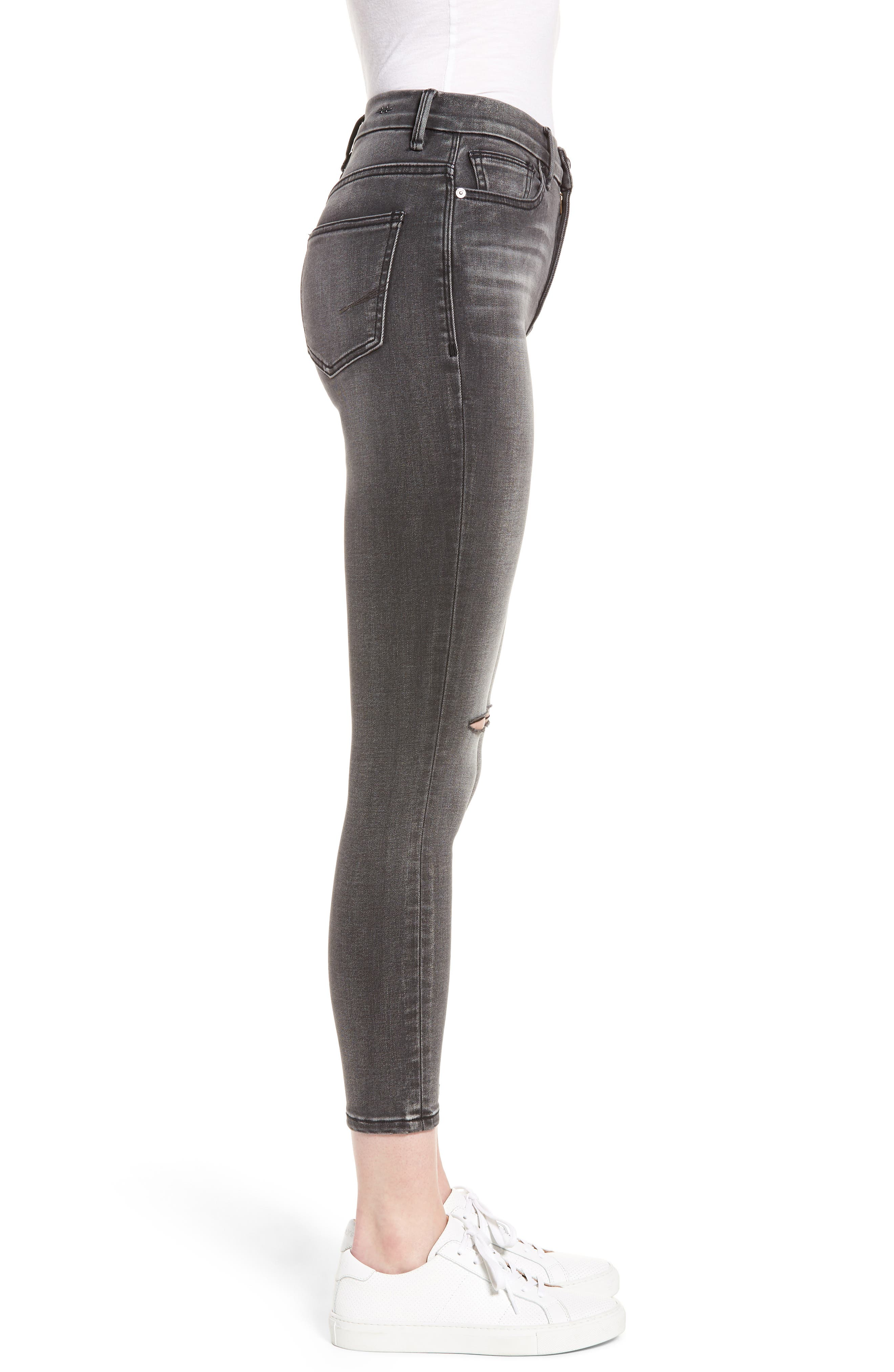 Cressa High Rise Ankle Skinny Jeans,                             Alternate thumbnail 3, color,                             Obsidian