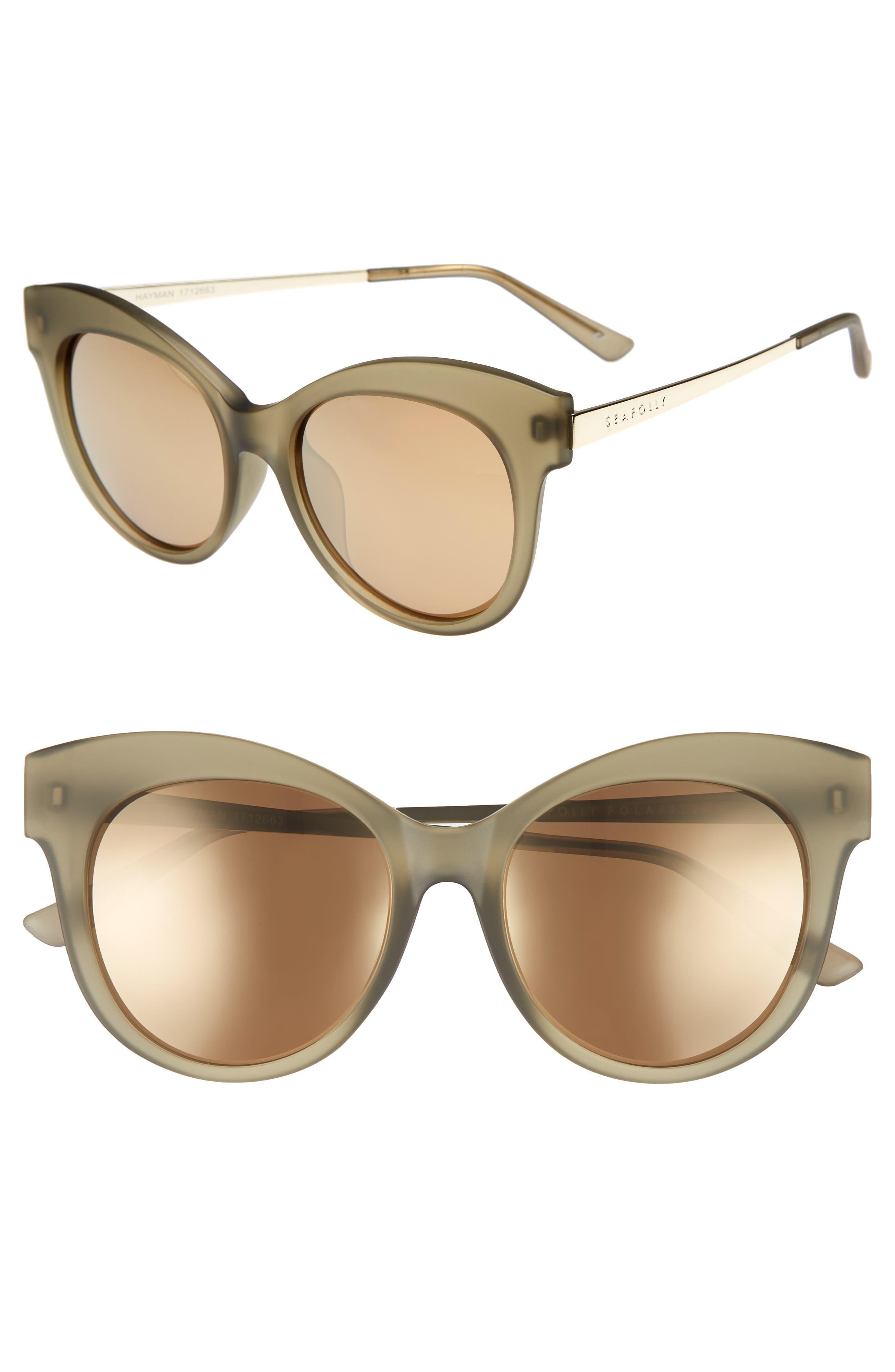 Hayman 53mm Cat Eye Sunglasses,                             Main thumbnail 1, color,                             Moss