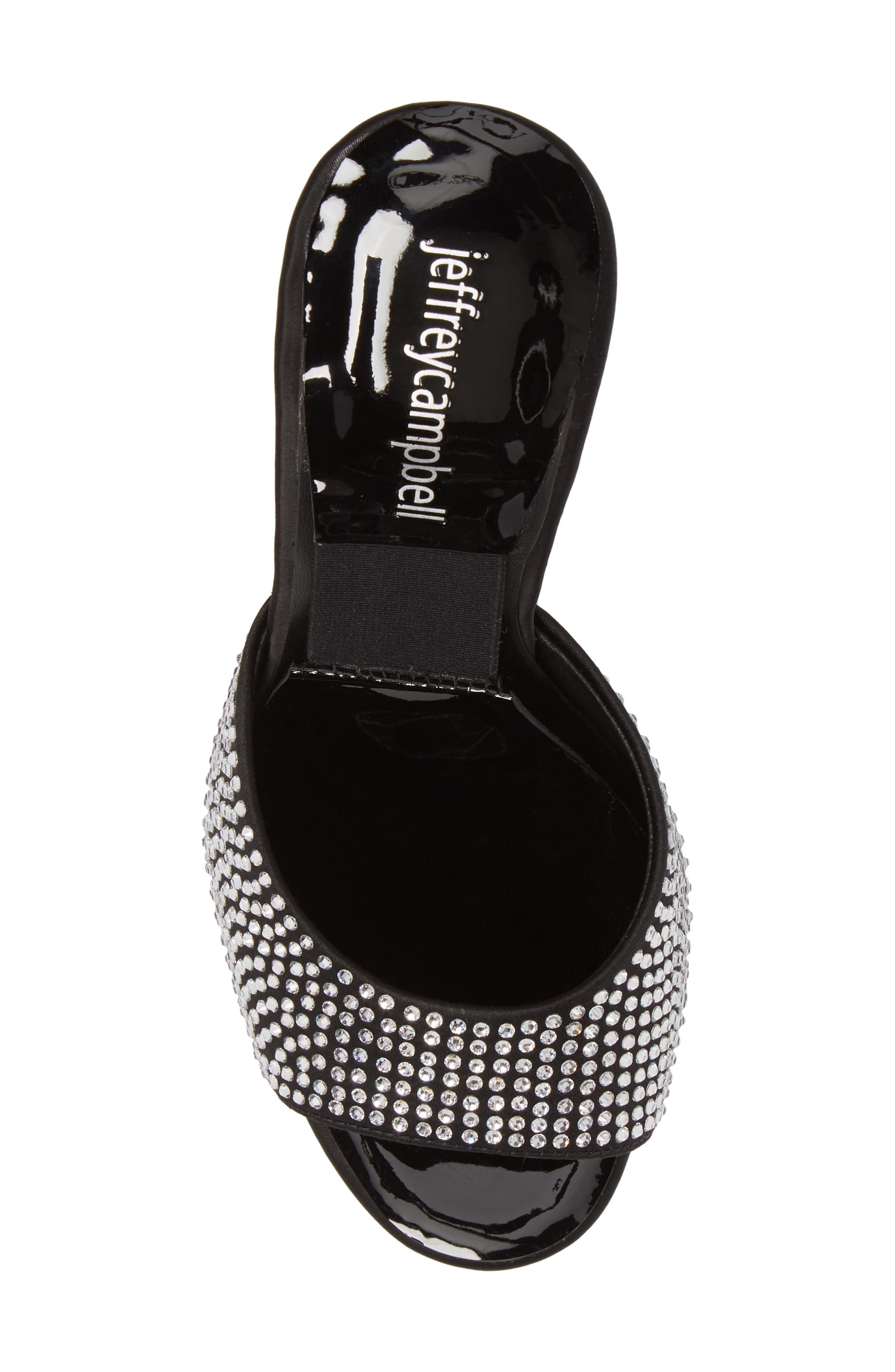 PG-13 Embellished Sandal,                             Alternate thumbnail 5, color,                             Black Satin/ Clear