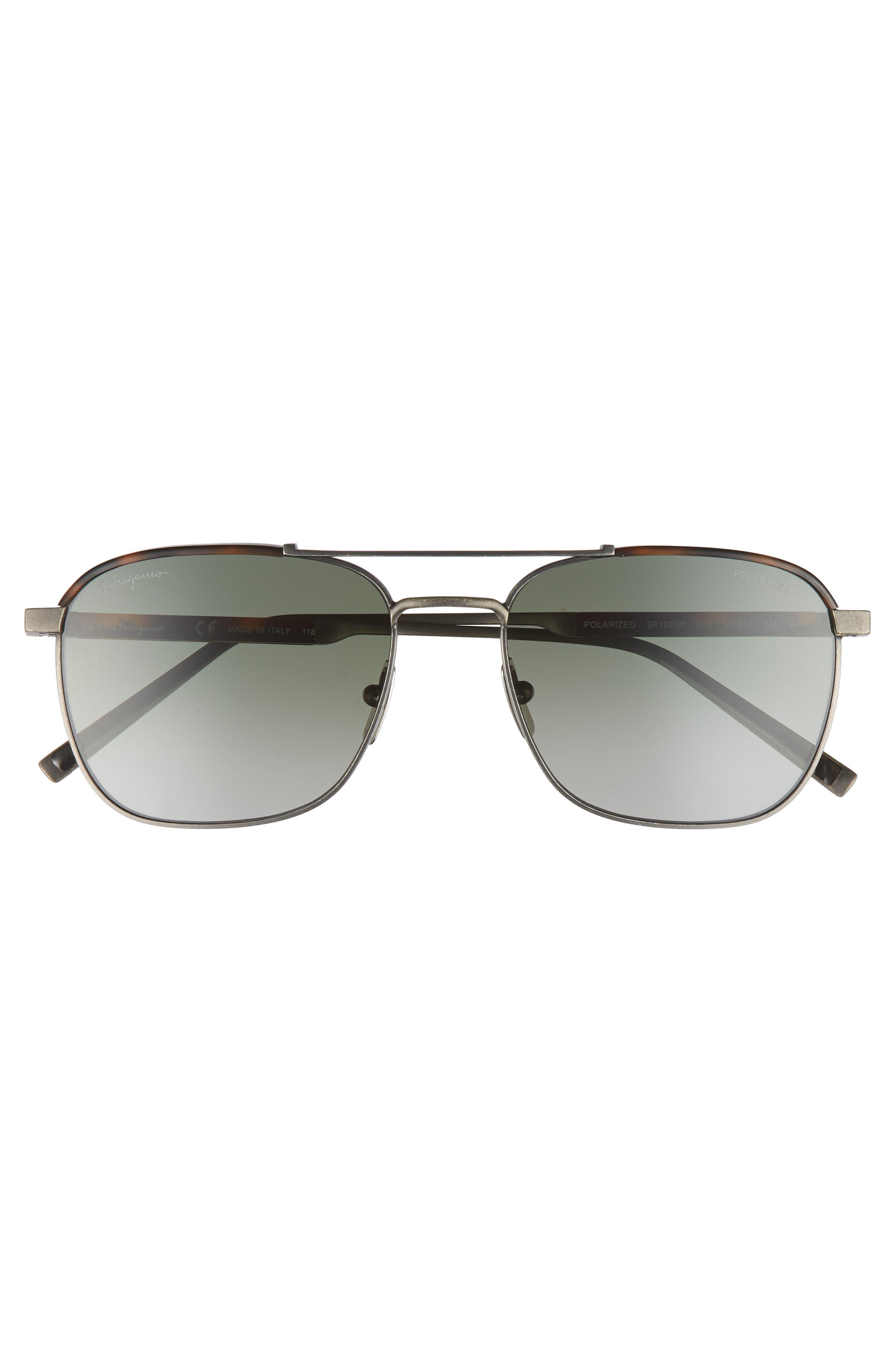 Classic Logo 56mm Polarized Aviator Sunglasses,                             Alternate thumbnail 2, color,                             Antique Ruthenium/ Havana