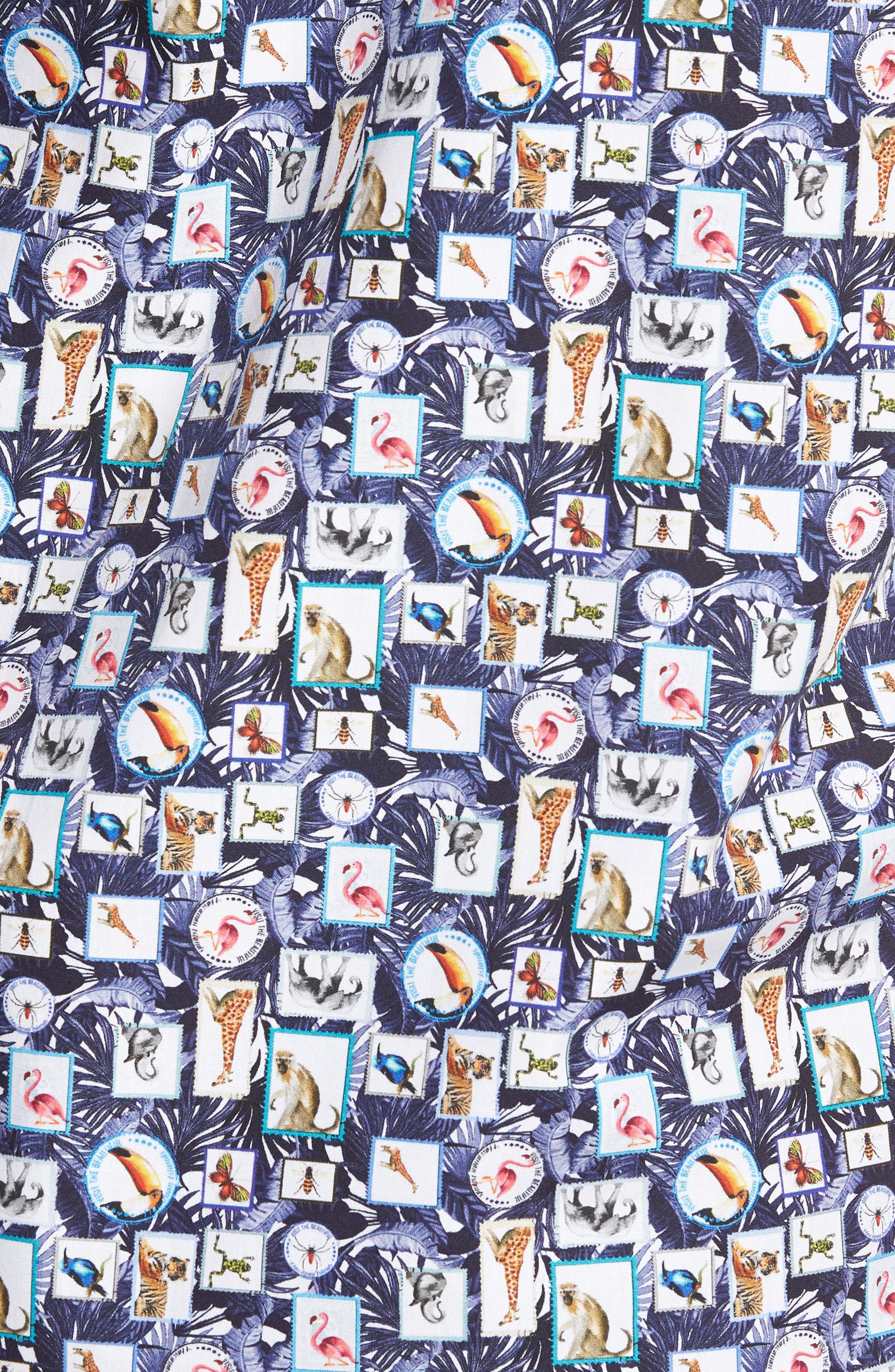 Animal Photo Collage Classic Fit Sport Shirt,                             Alternate thumbnail 5, color,                             Night Blue
